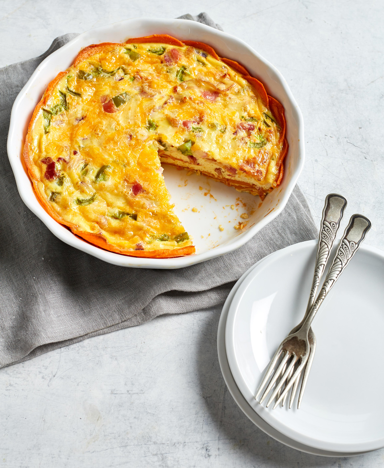 Quiche with Sweet Potato Crust on round cooking dish