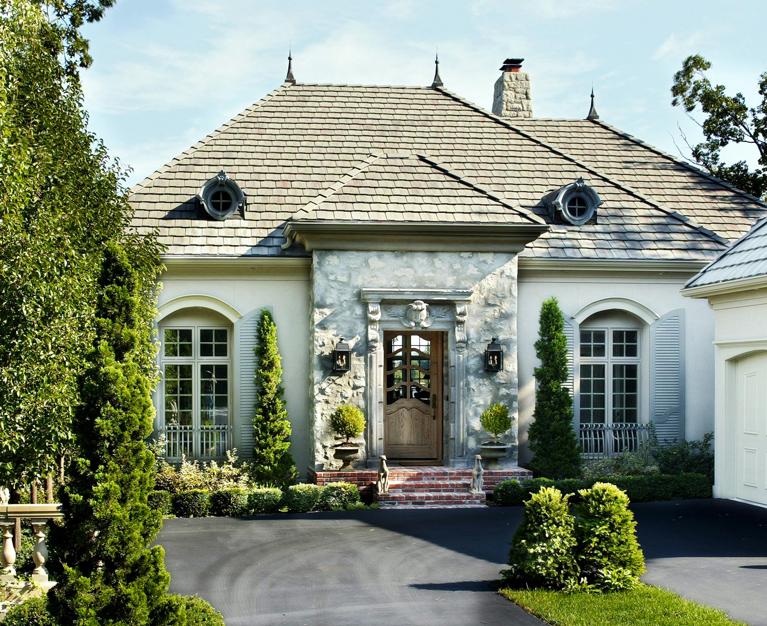 iron railings country french style home