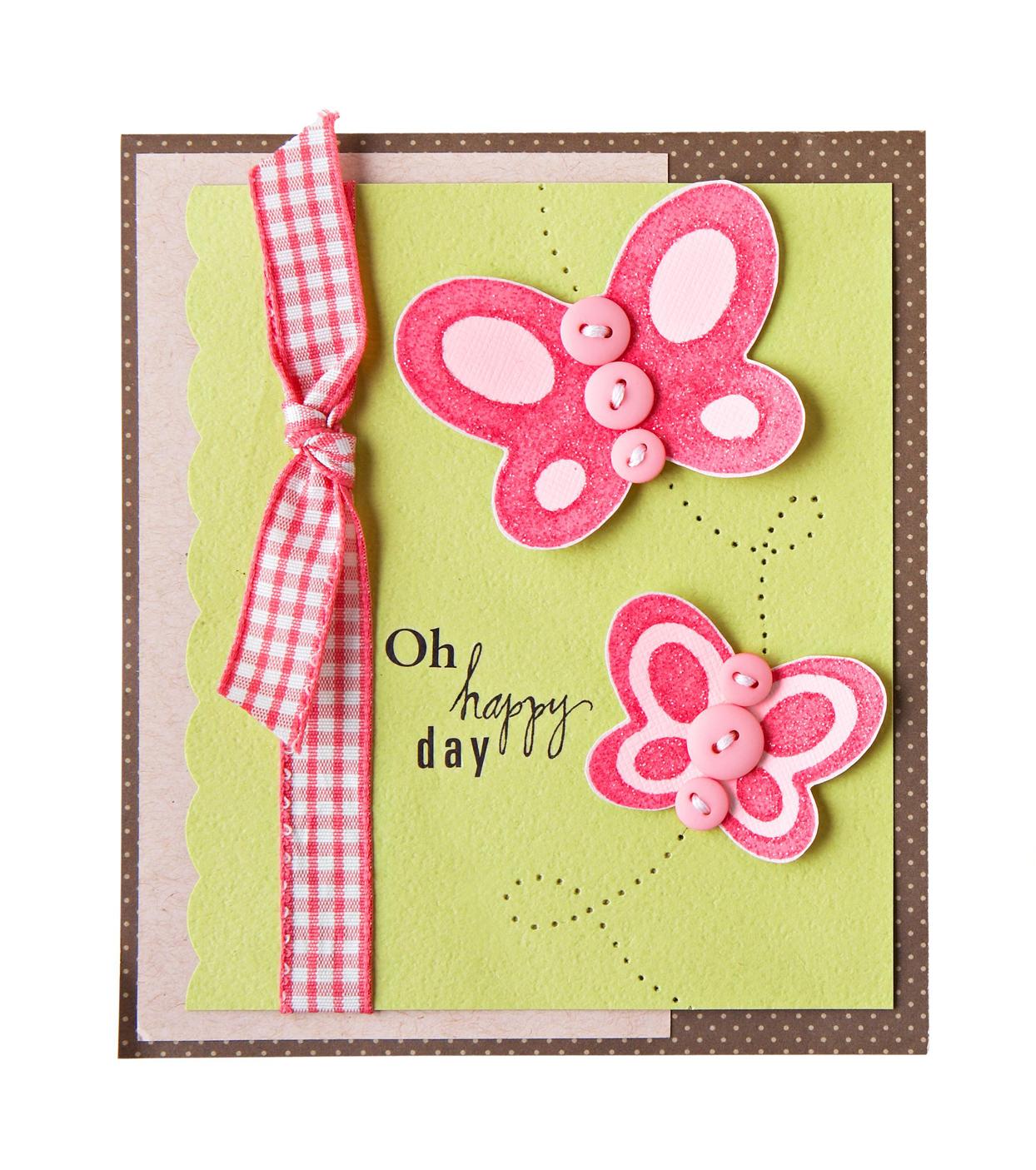pink and brown birthday card
