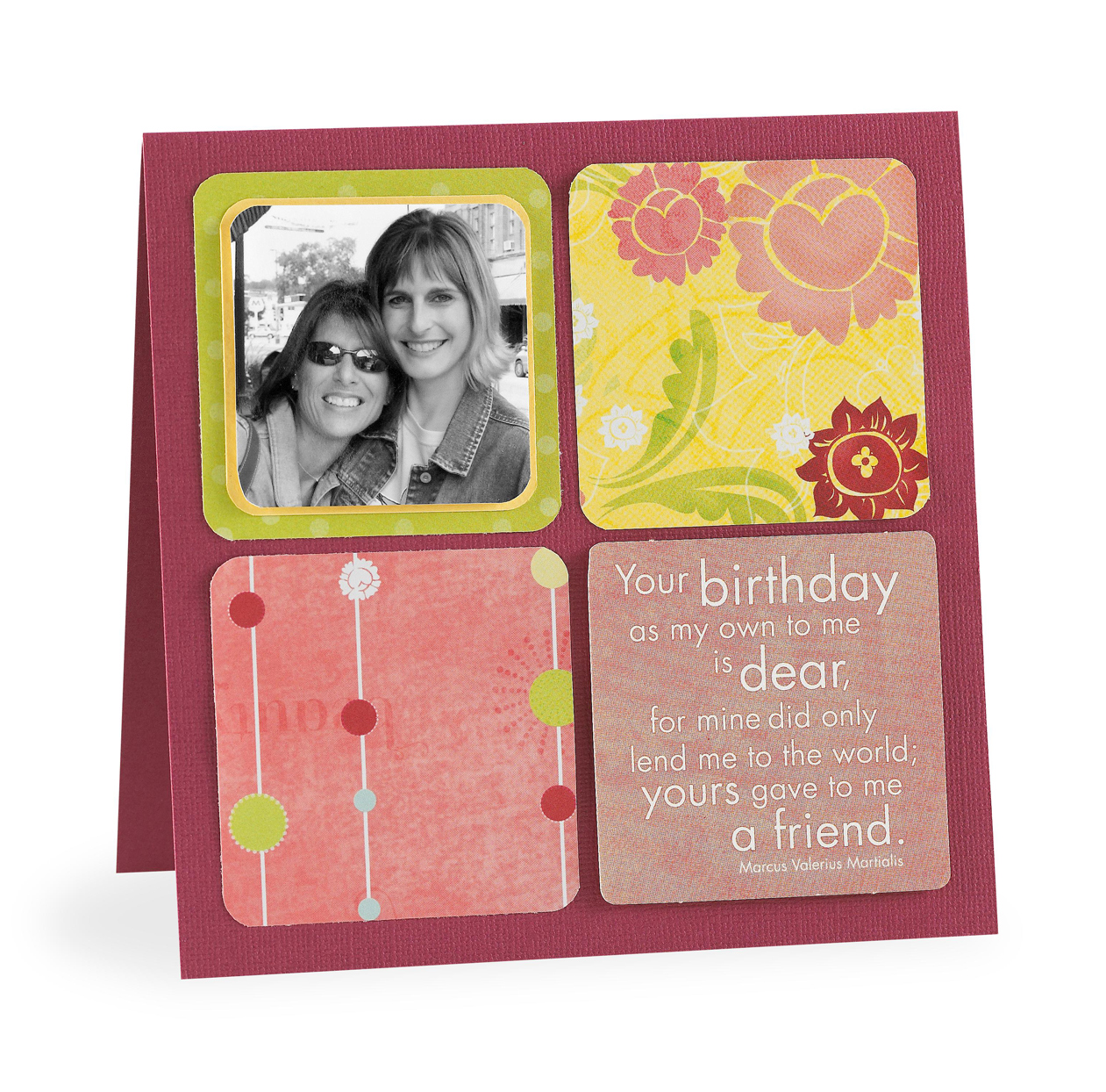 Pink card with photo and friendship quote