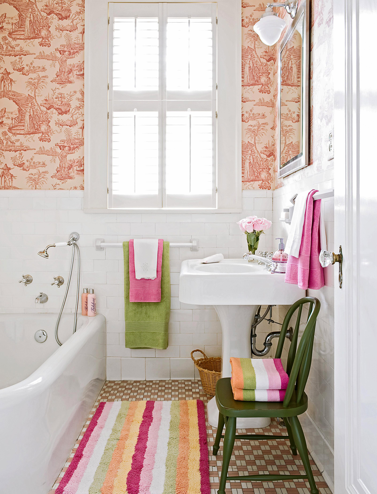 green white pink color bathroom