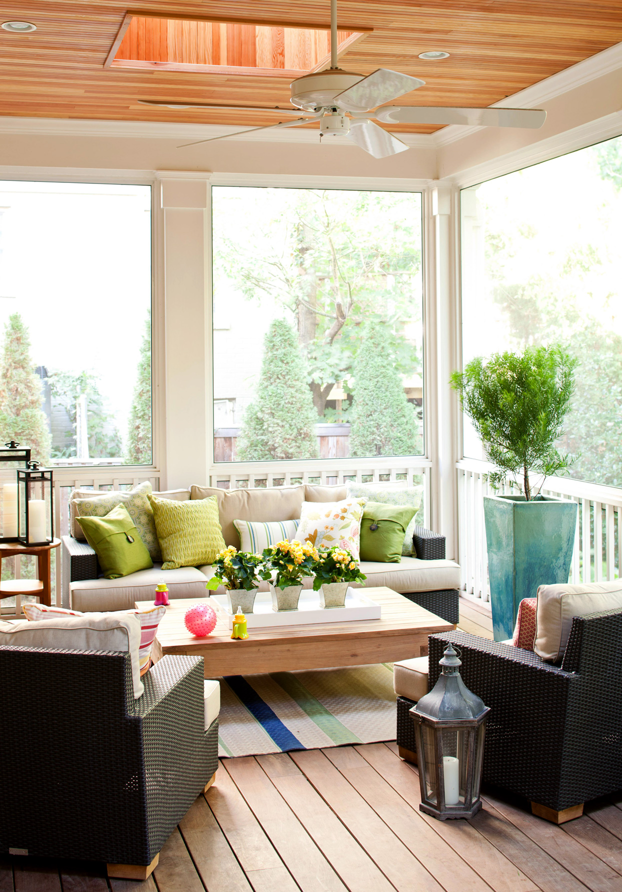 indoor porch with skylight