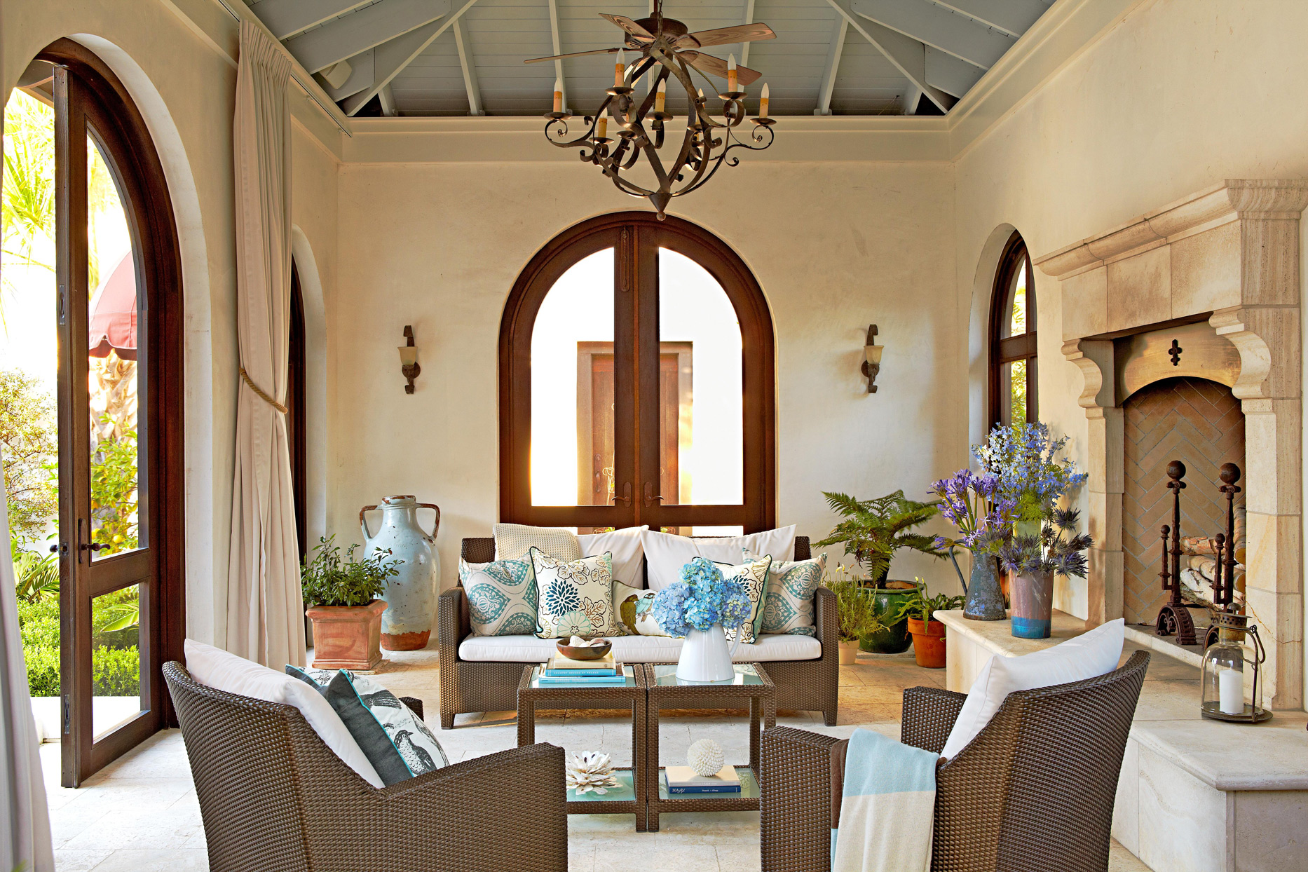 indoor porch with stone walls and high ceilings