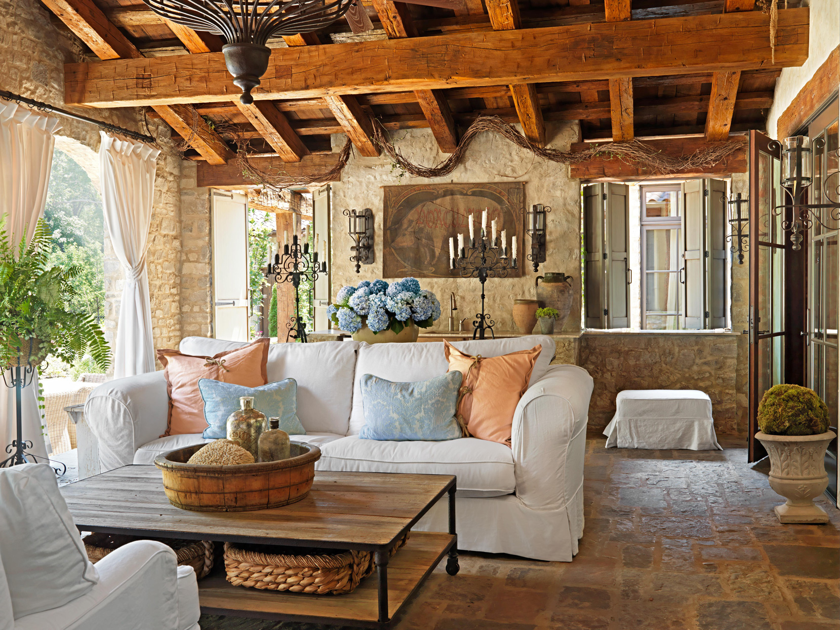 stone porch with wooden beams