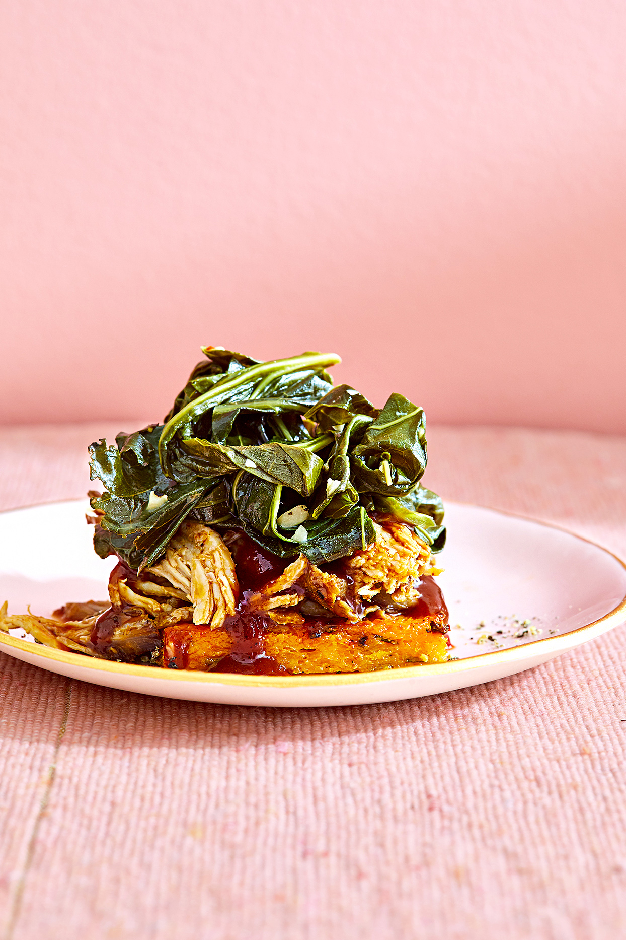 Roasted Pulled Pork on Cheesy Grits Cakes with Collards