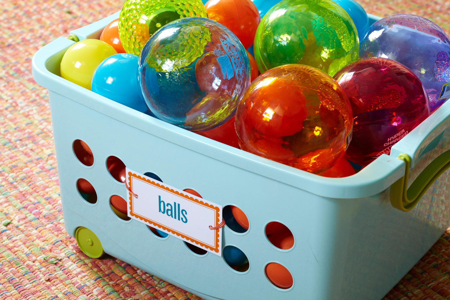 ball toy bin with label