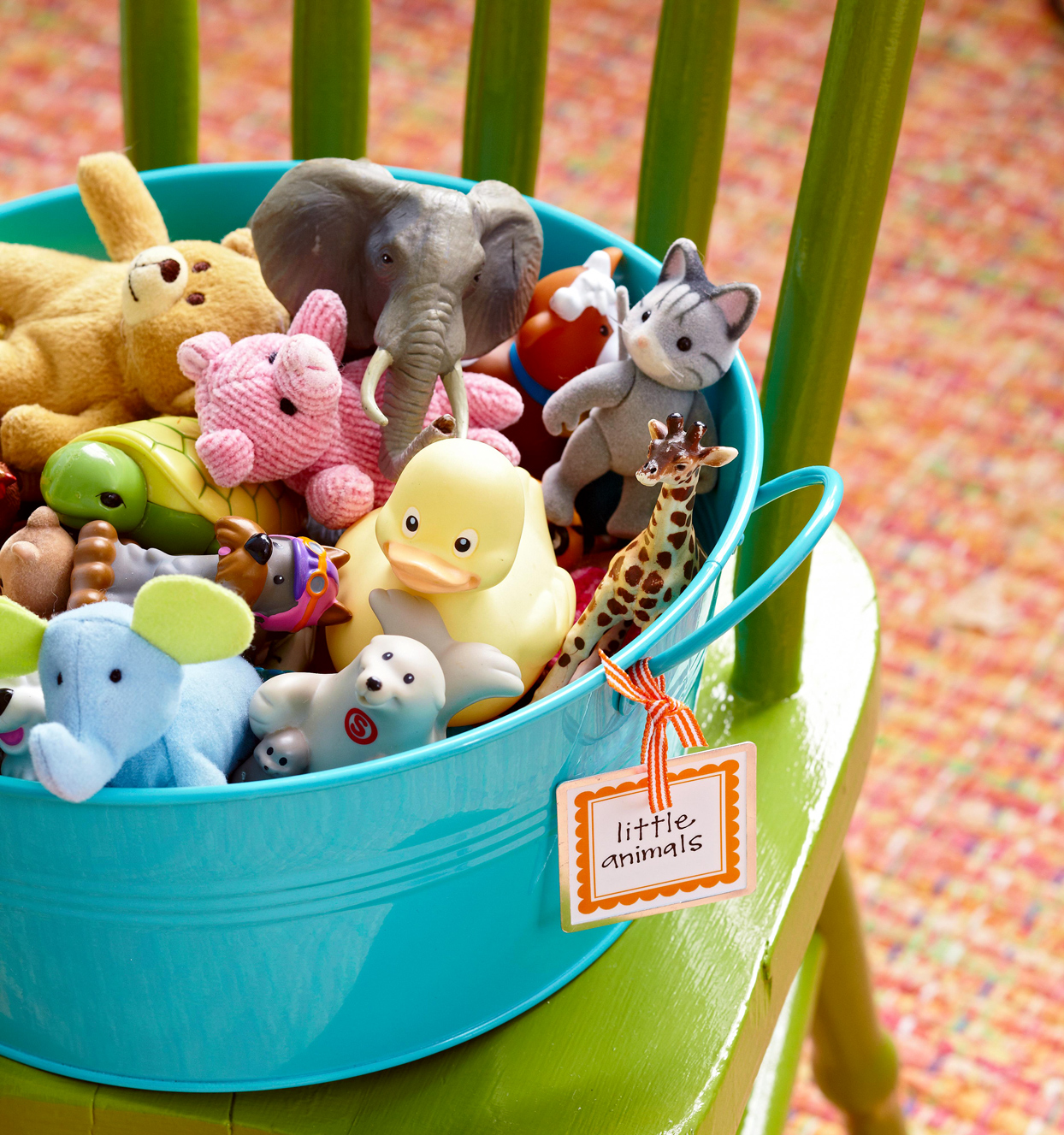 labeled animal toy bin