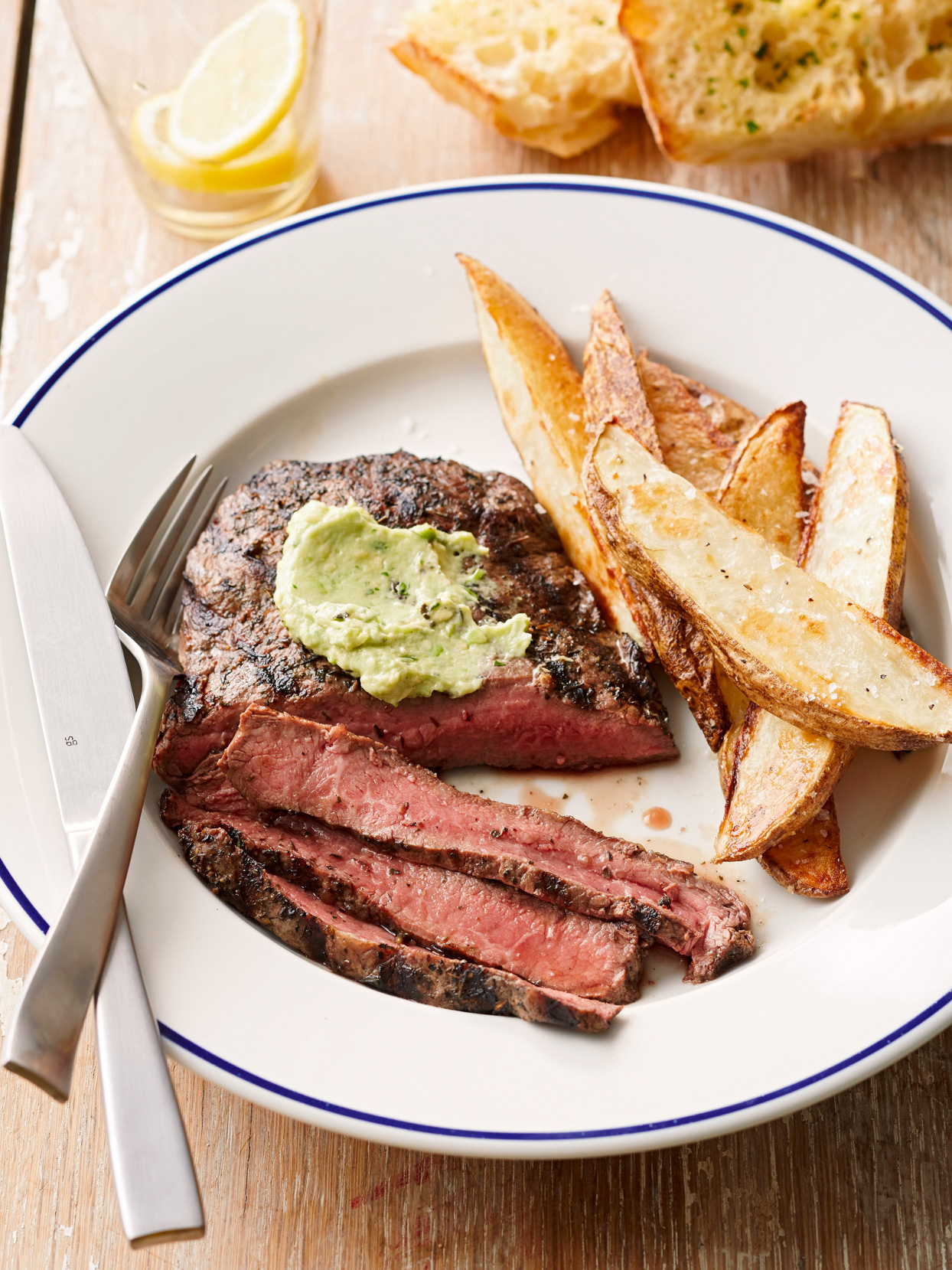 Flat-Iron Steaks with Avocado Butter