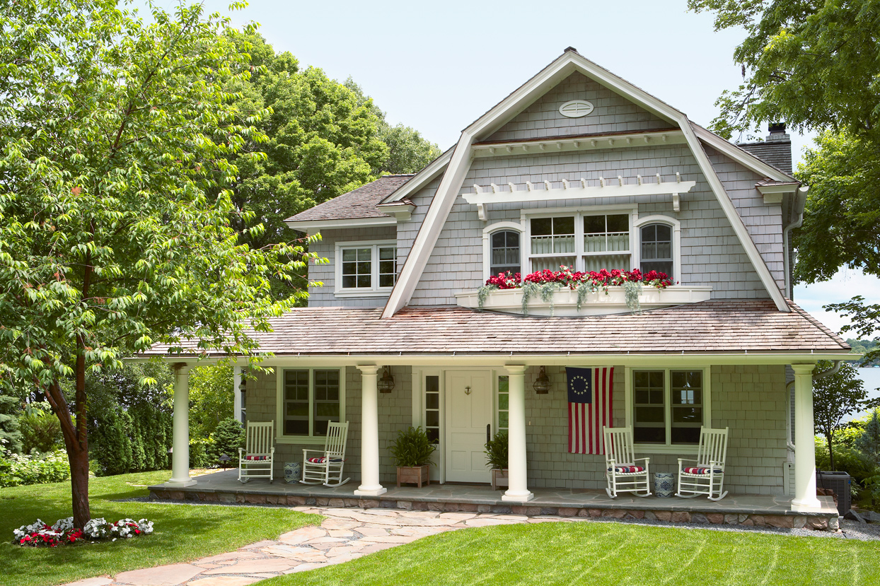 Cape cod home with flower boxes
