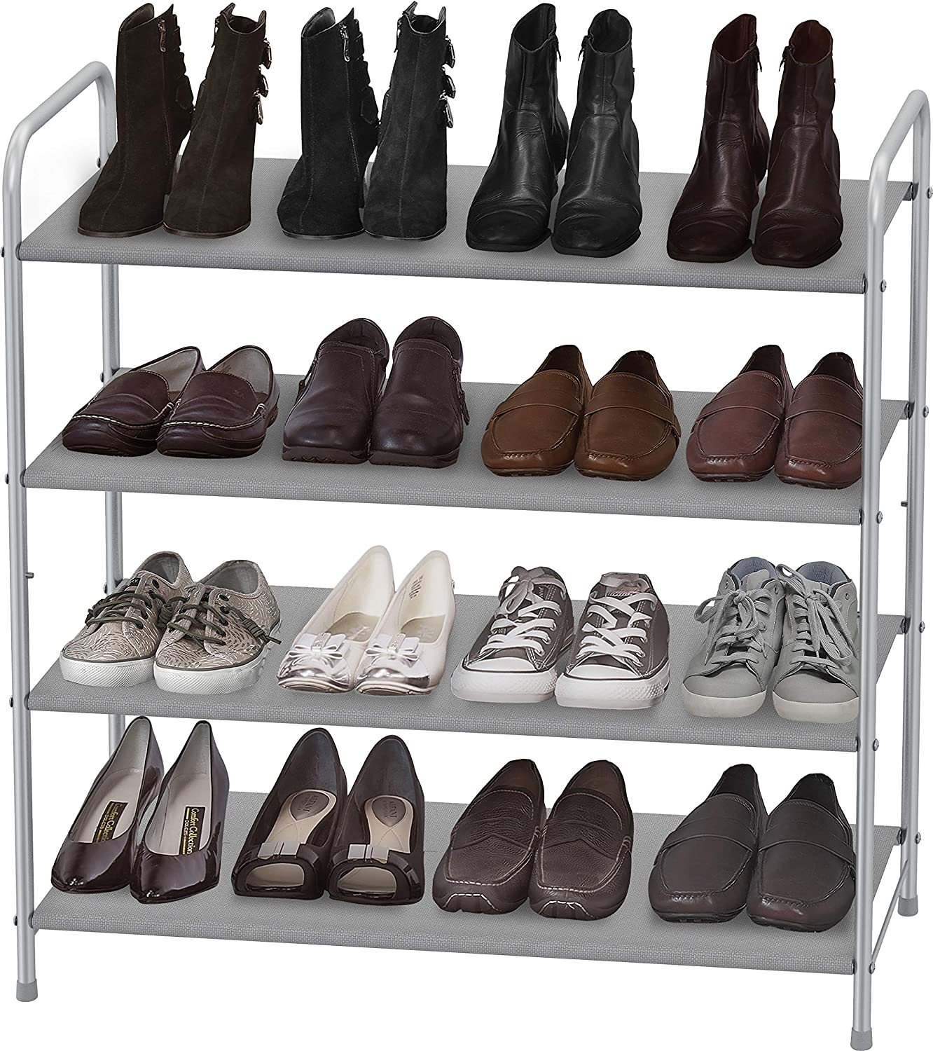 gray shelves lined with shoes