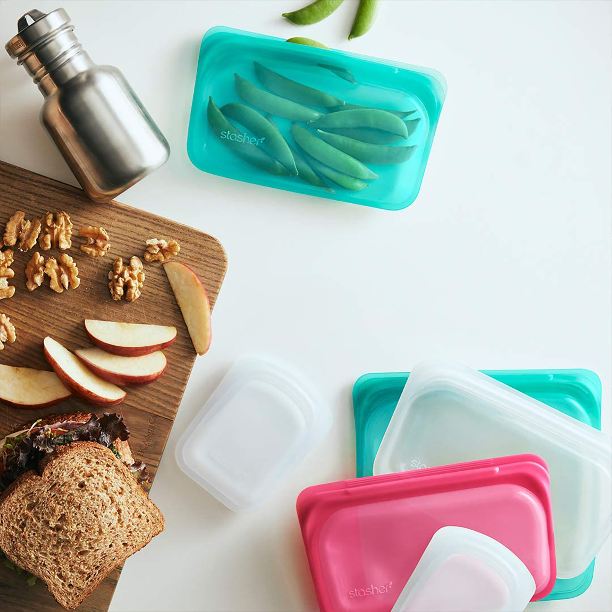reusable snack bags in various colors on countertop