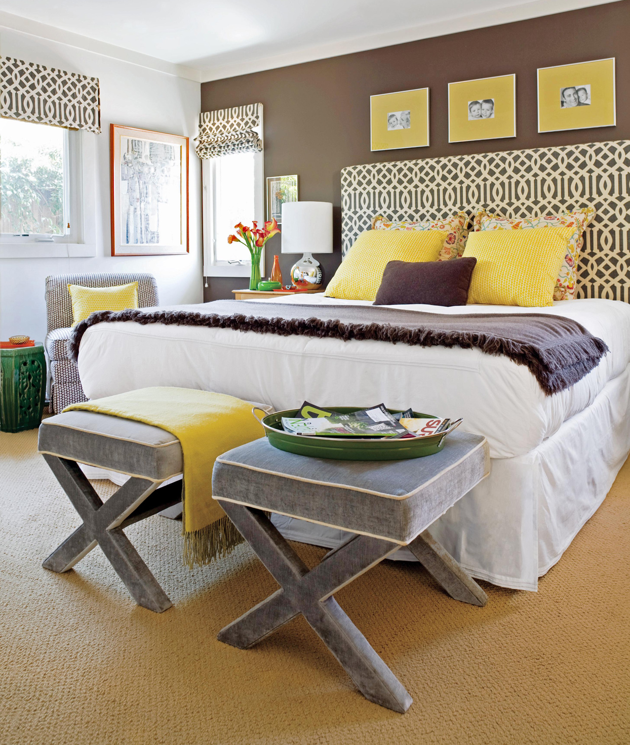 bedroom with yellow accents