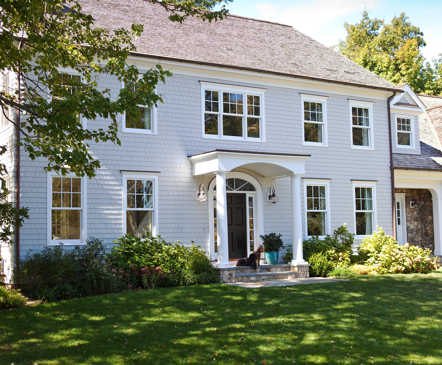 clapboard siding colonial style home