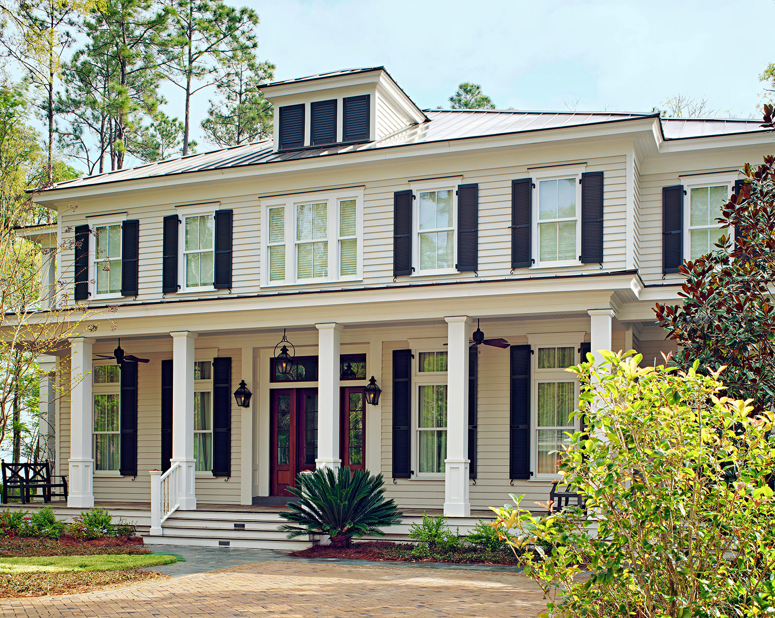 front porch columns colonial style home