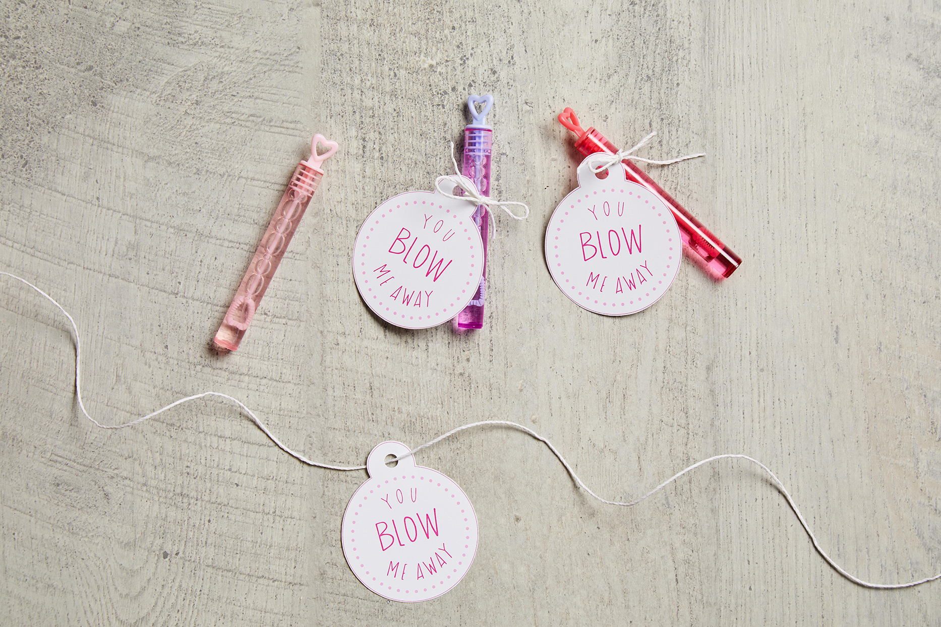 valentine tags on bubble wands