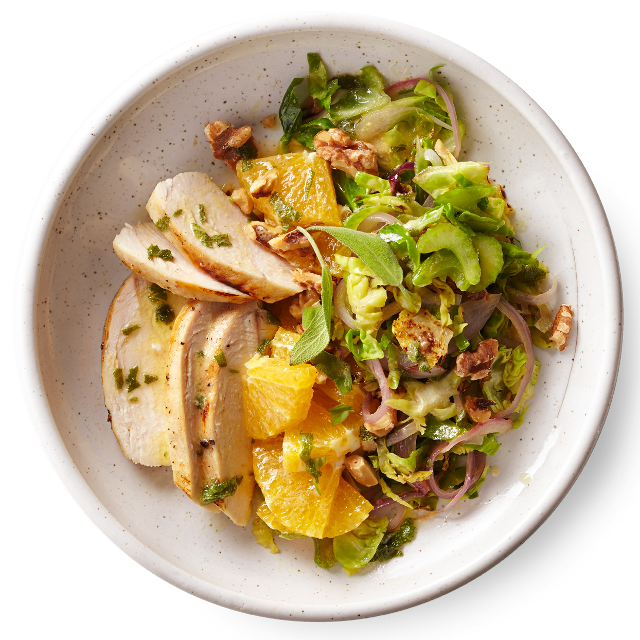 Warm Brussels Sprouts Salad with Chicken