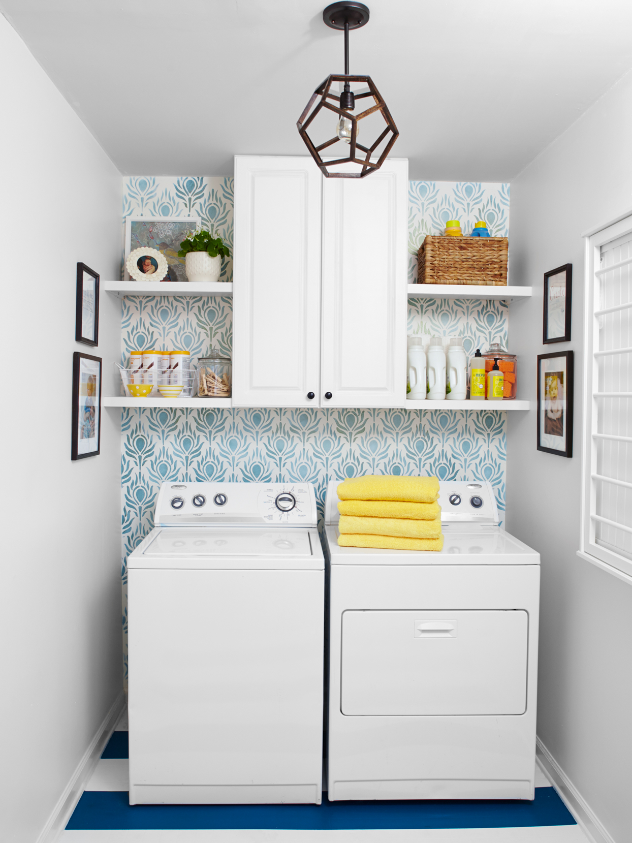 laundry room with blue and white striped floors