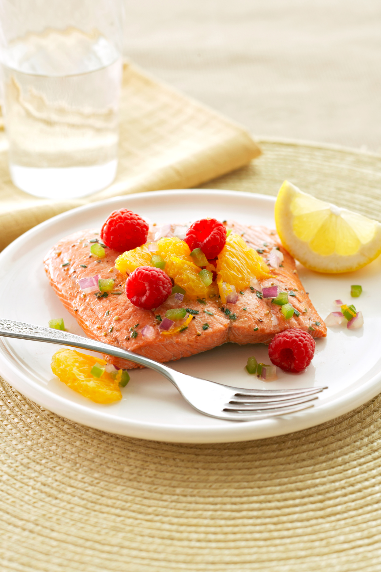 Citrus Salmon Fillets with Raspberry Salsa