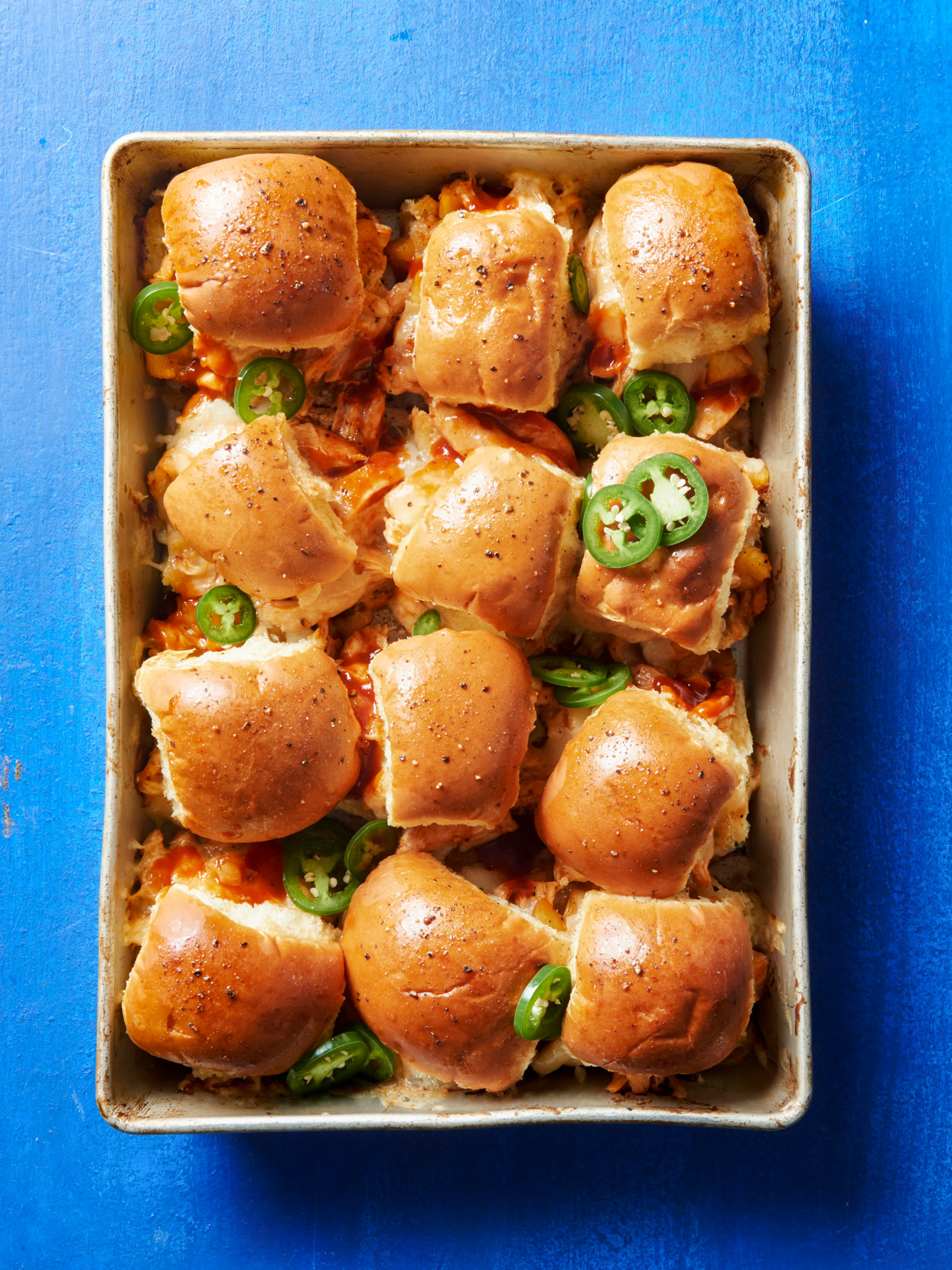 Sweet-Spicy Barbecued Chicken Sliders