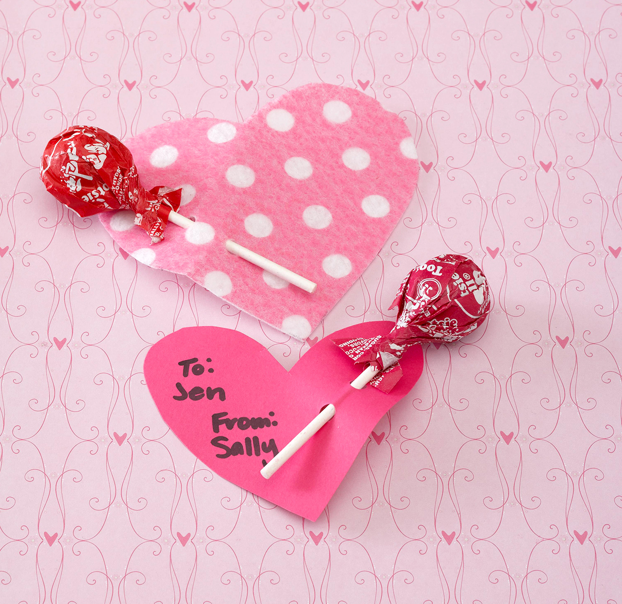 Lollipop Heart valentines