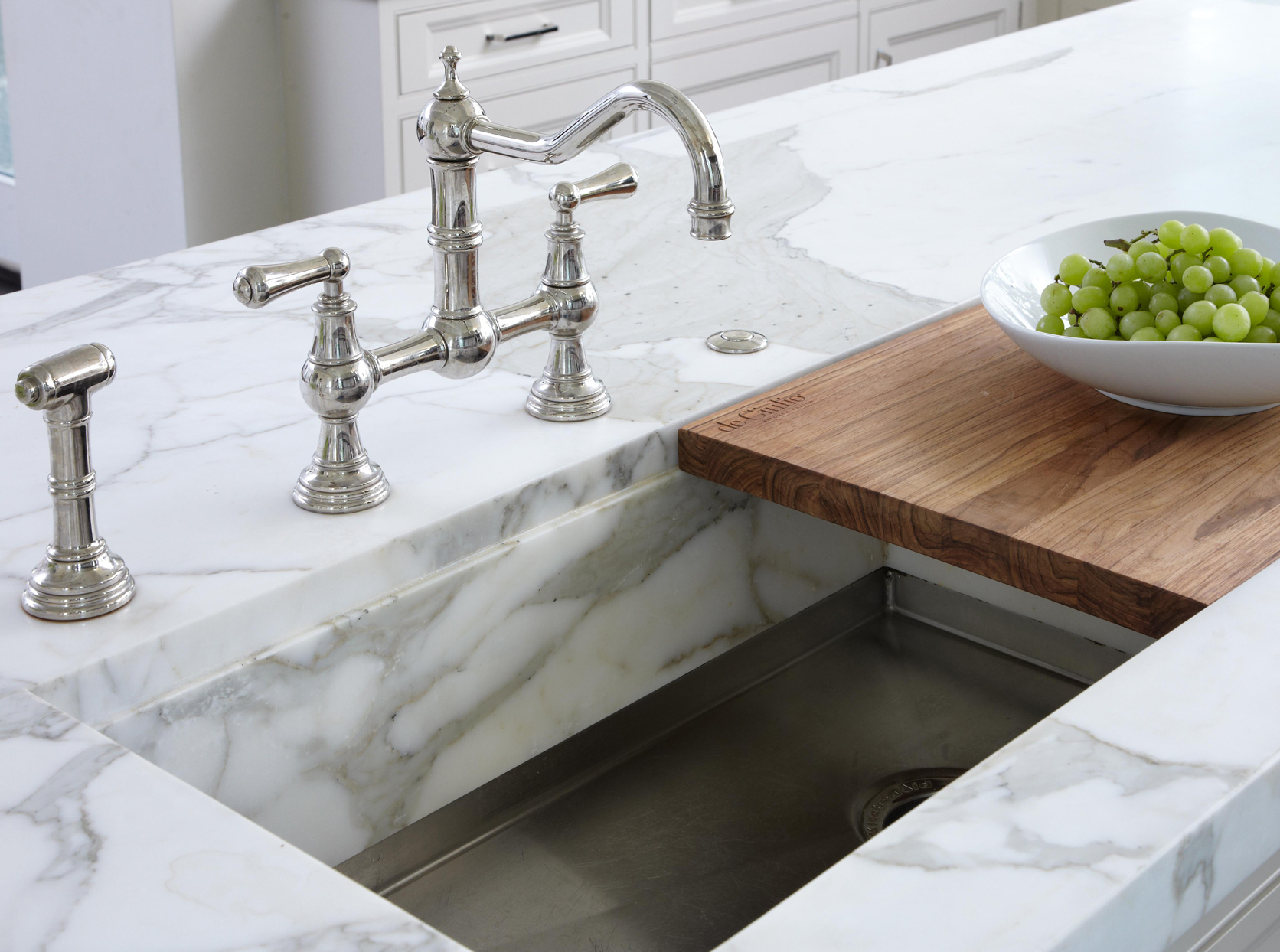 marble counter sink chopping block