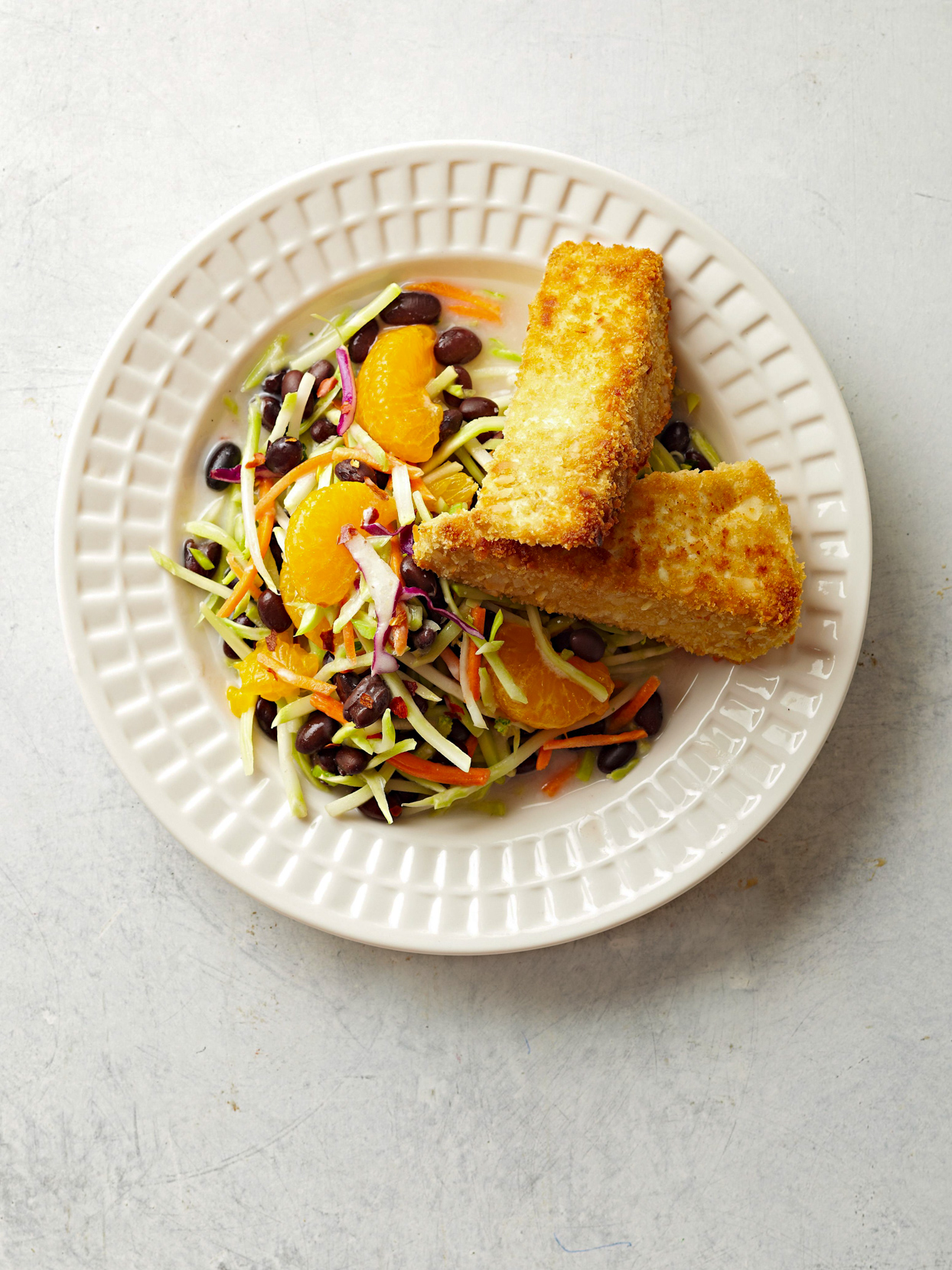 Coconut-Crusted Tofu with Black Bean Slaw