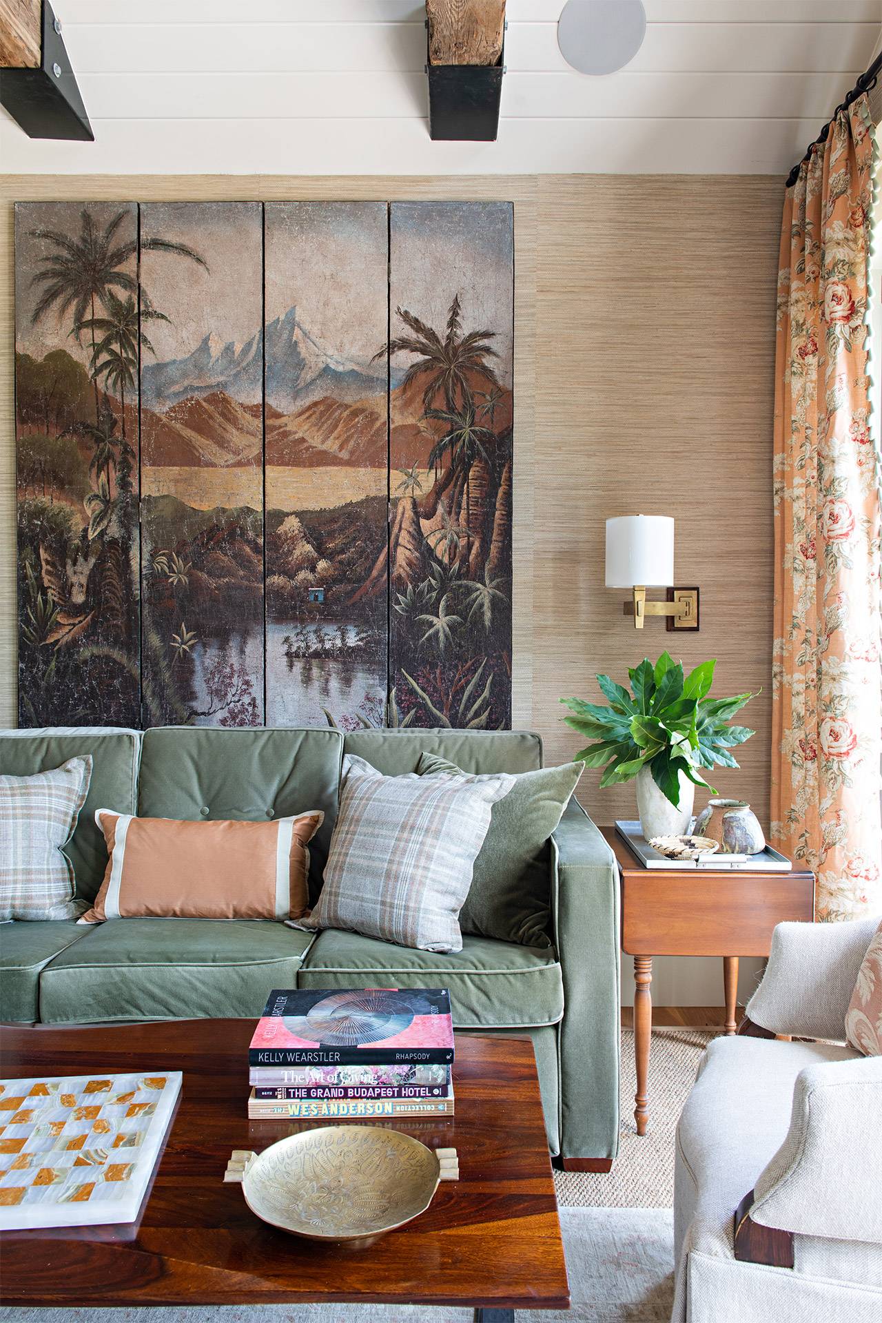living room dramatic tropical painting