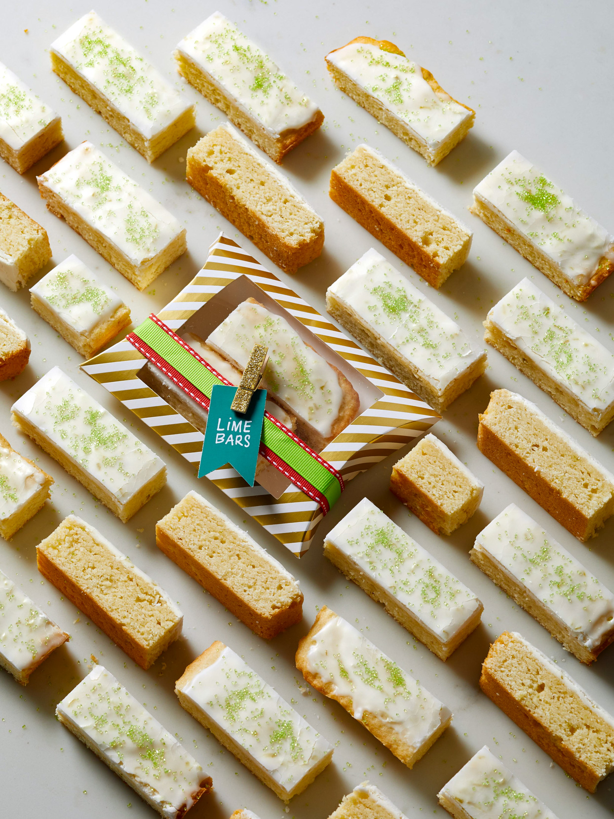 Lime Sugar Bars on marble surface