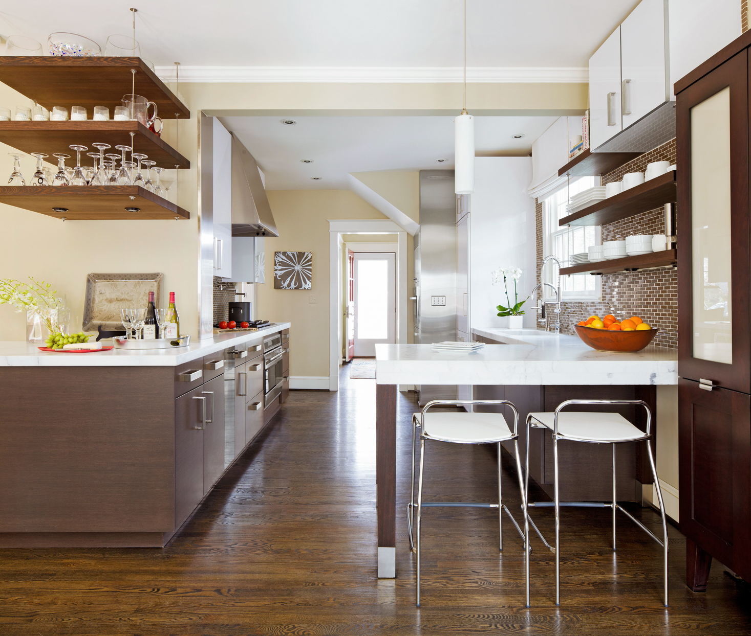 dark kitchen counter extended seating
