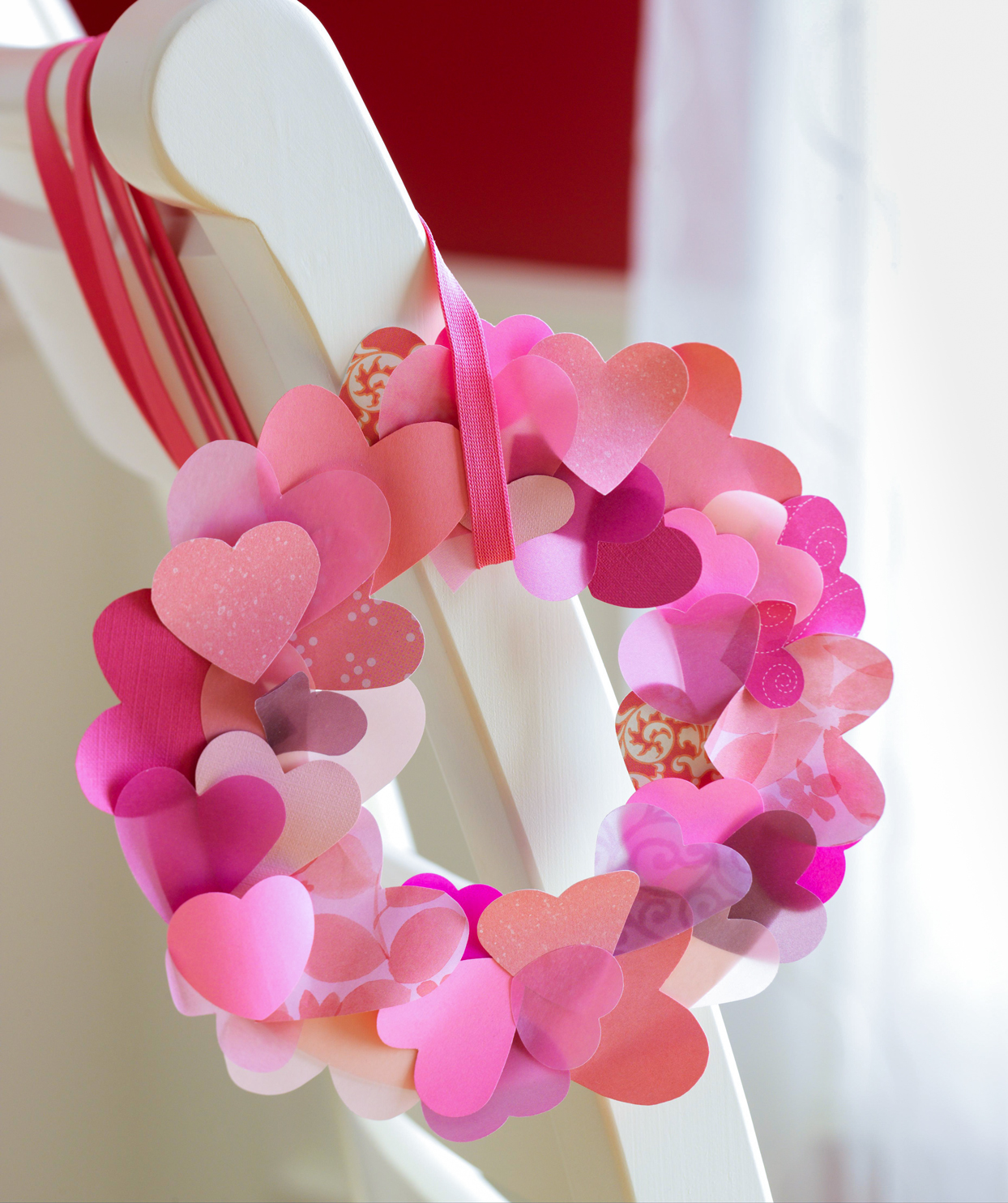 heart wreath attached to chair