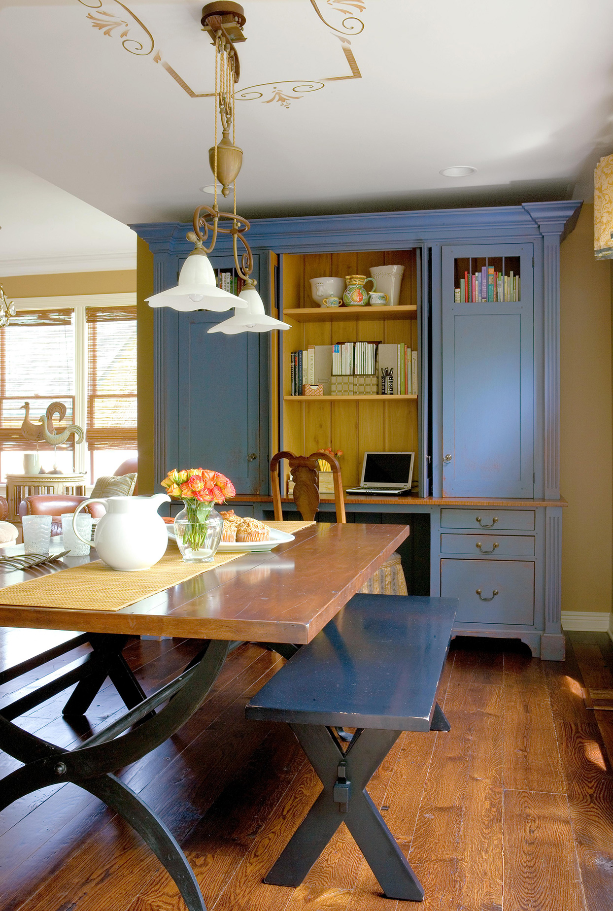 kitchen with dark blue cabinets