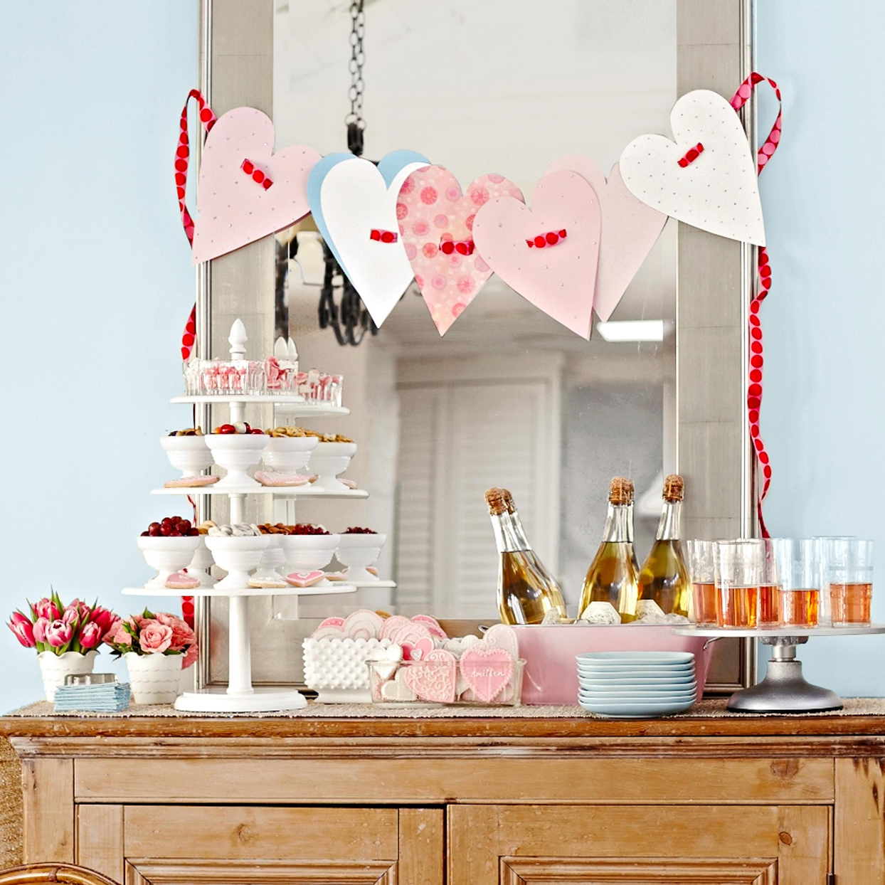 Paper Heart Garland over mirror