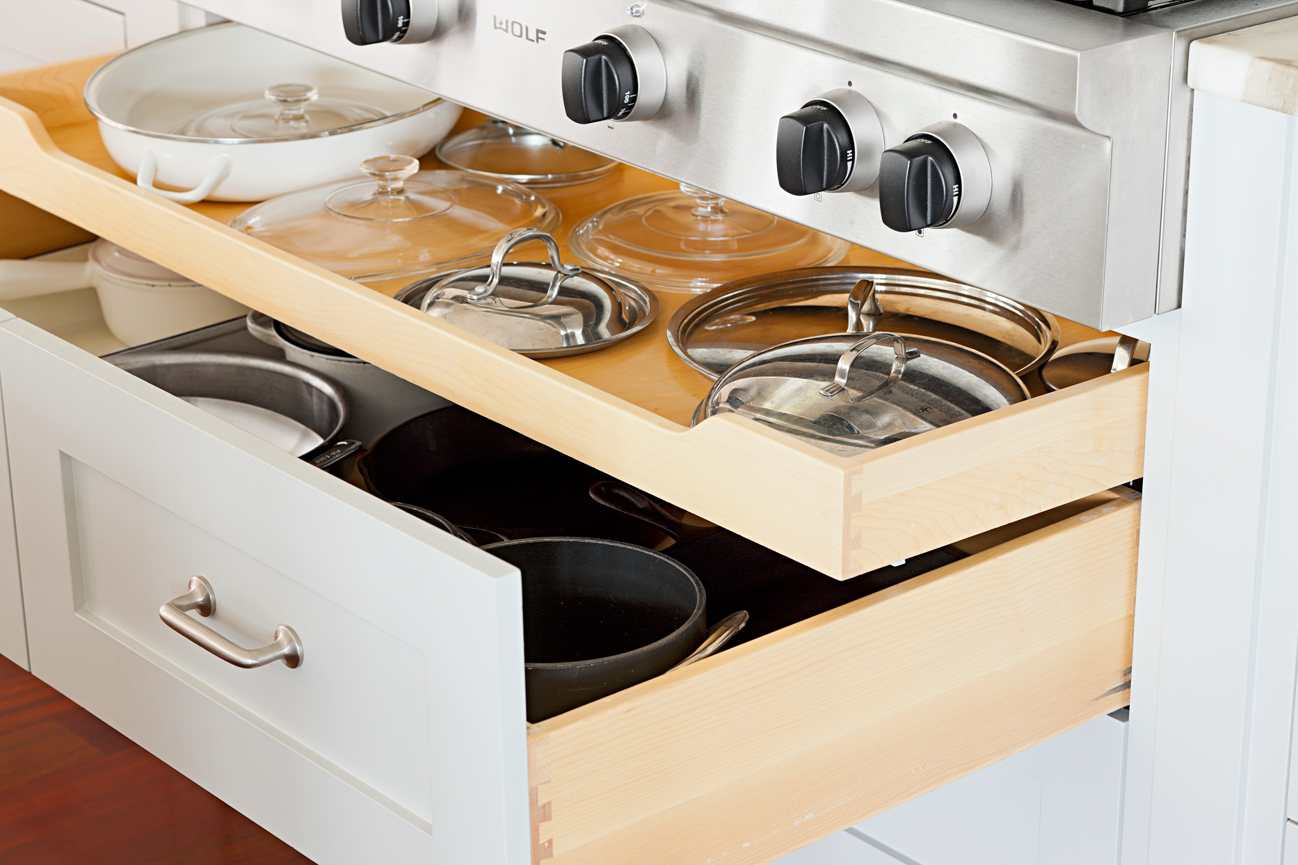 pots and pans storage drawers
