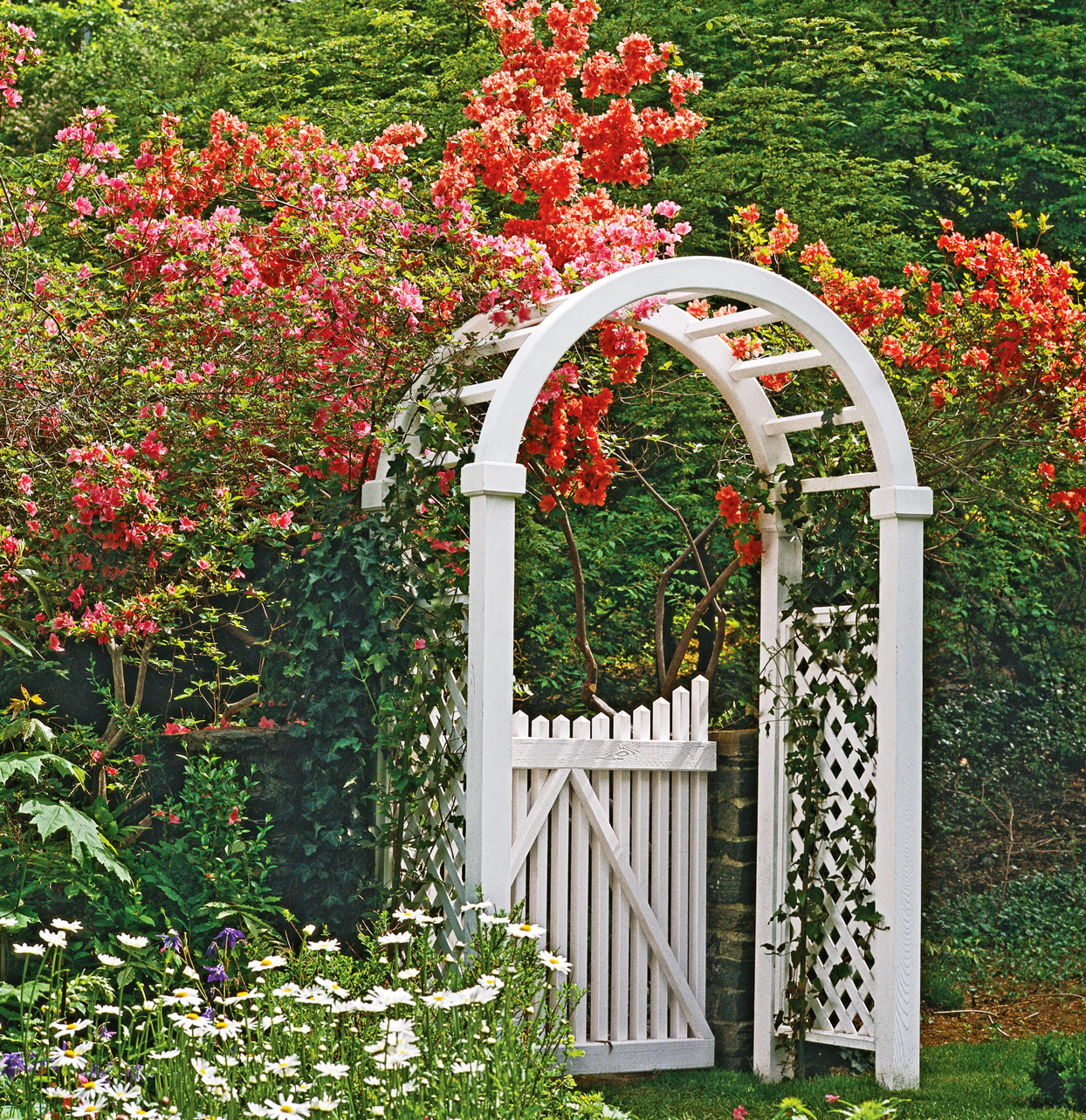 white garden arbor outside
