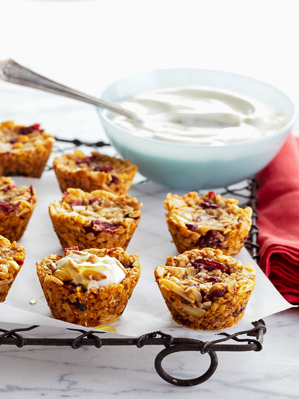Granola Cups on wire cooling rack