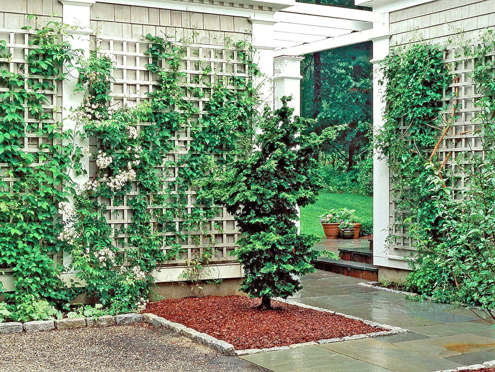 white lattice panel trellis with vines and faux columns