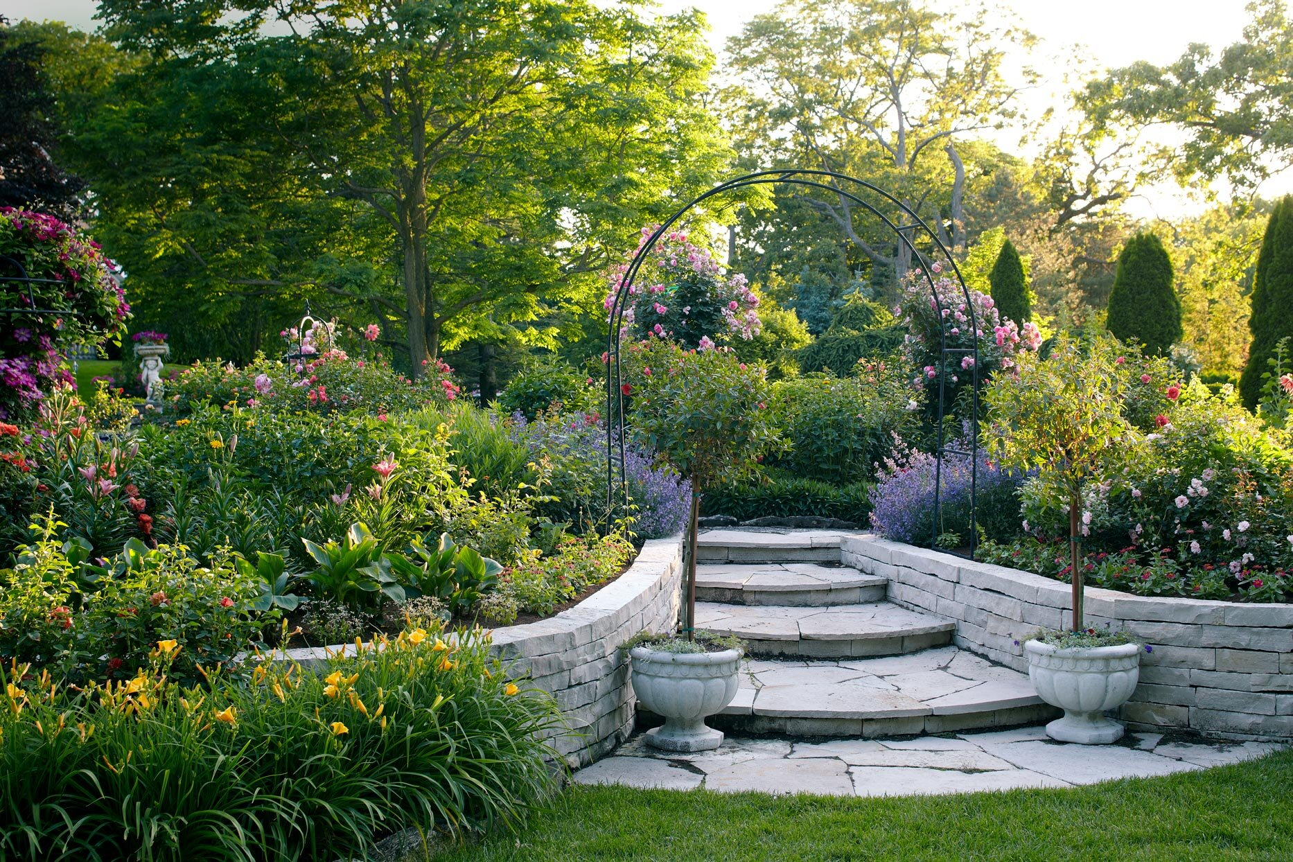 lush garden with stone steps