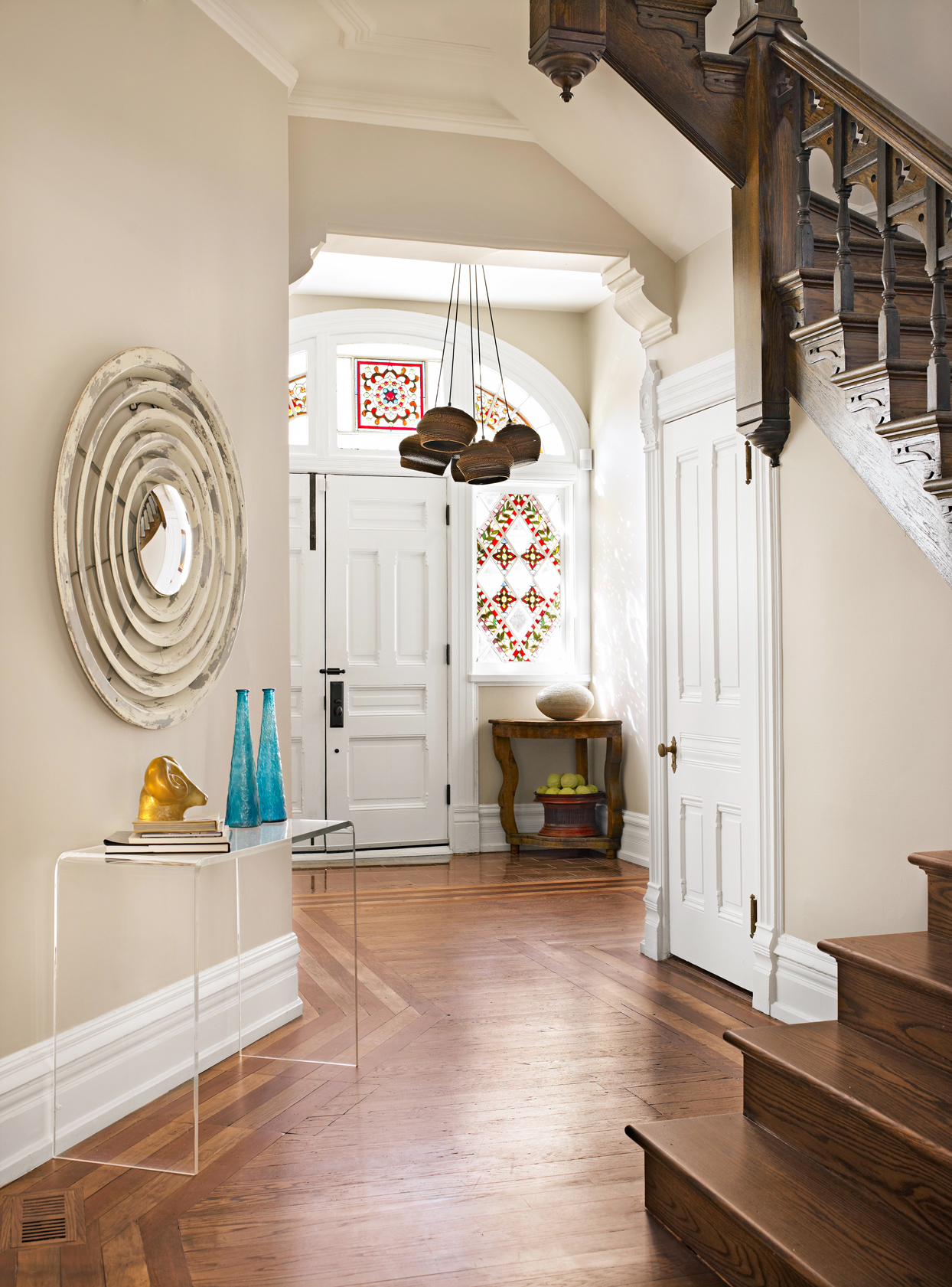 Victorian foyer stained-glass windows