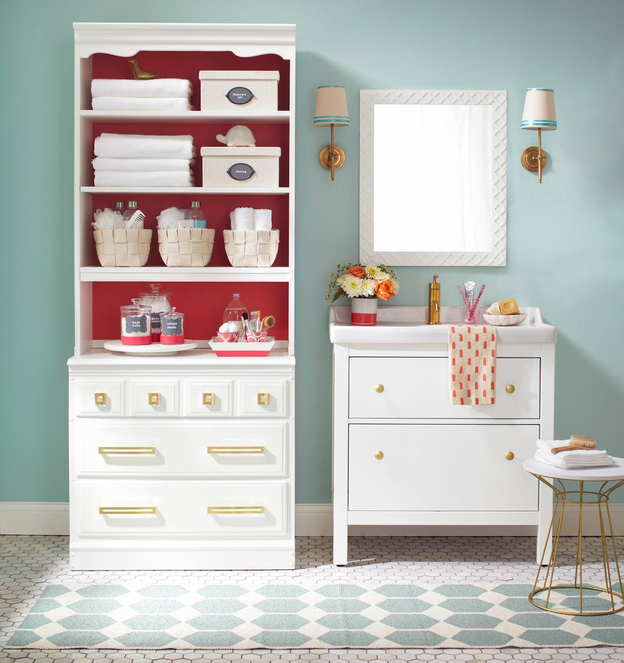 white teal bathroom storage red accents
