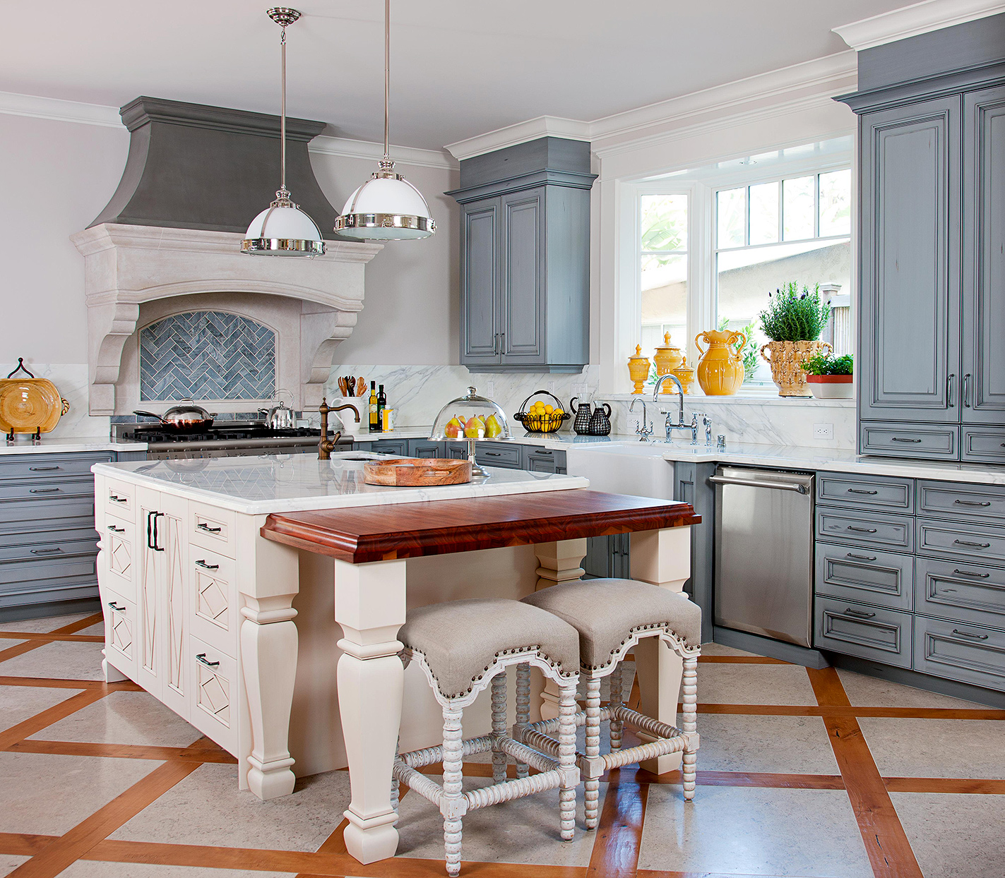 country french kitchen decorative faux finish blue cabinets