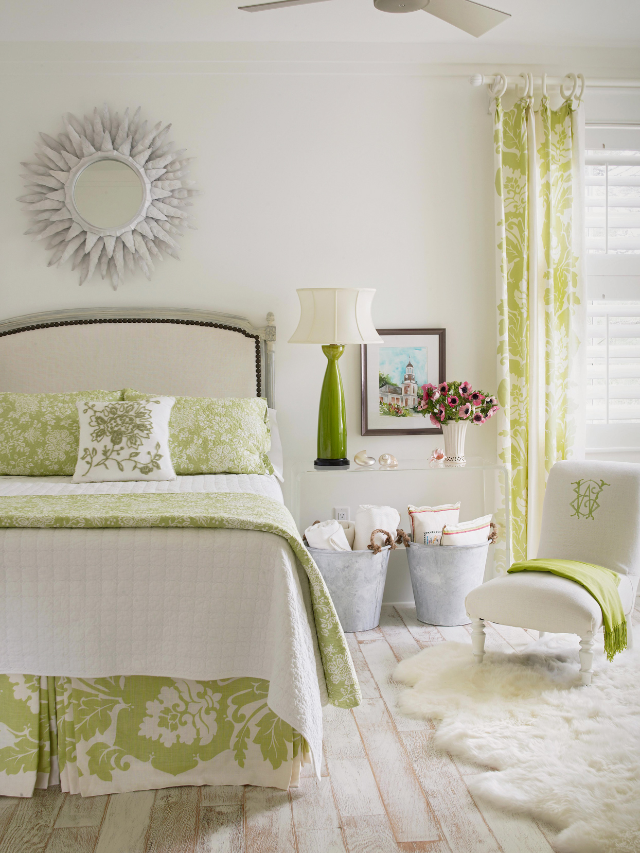 Queen size with bed upholstered headboard green accent bedroom