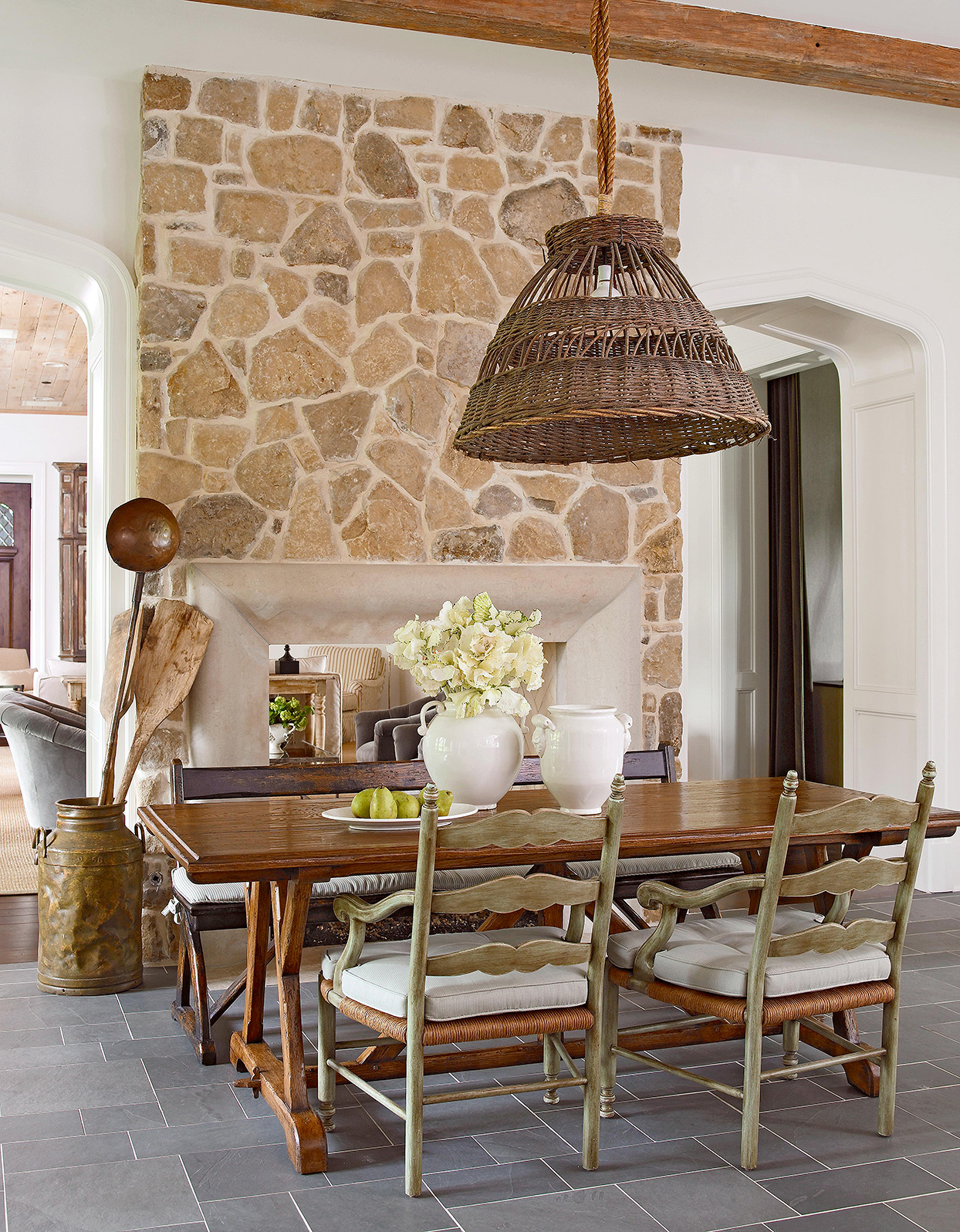 stone fireplace country french dining area rustic pendant lamp
