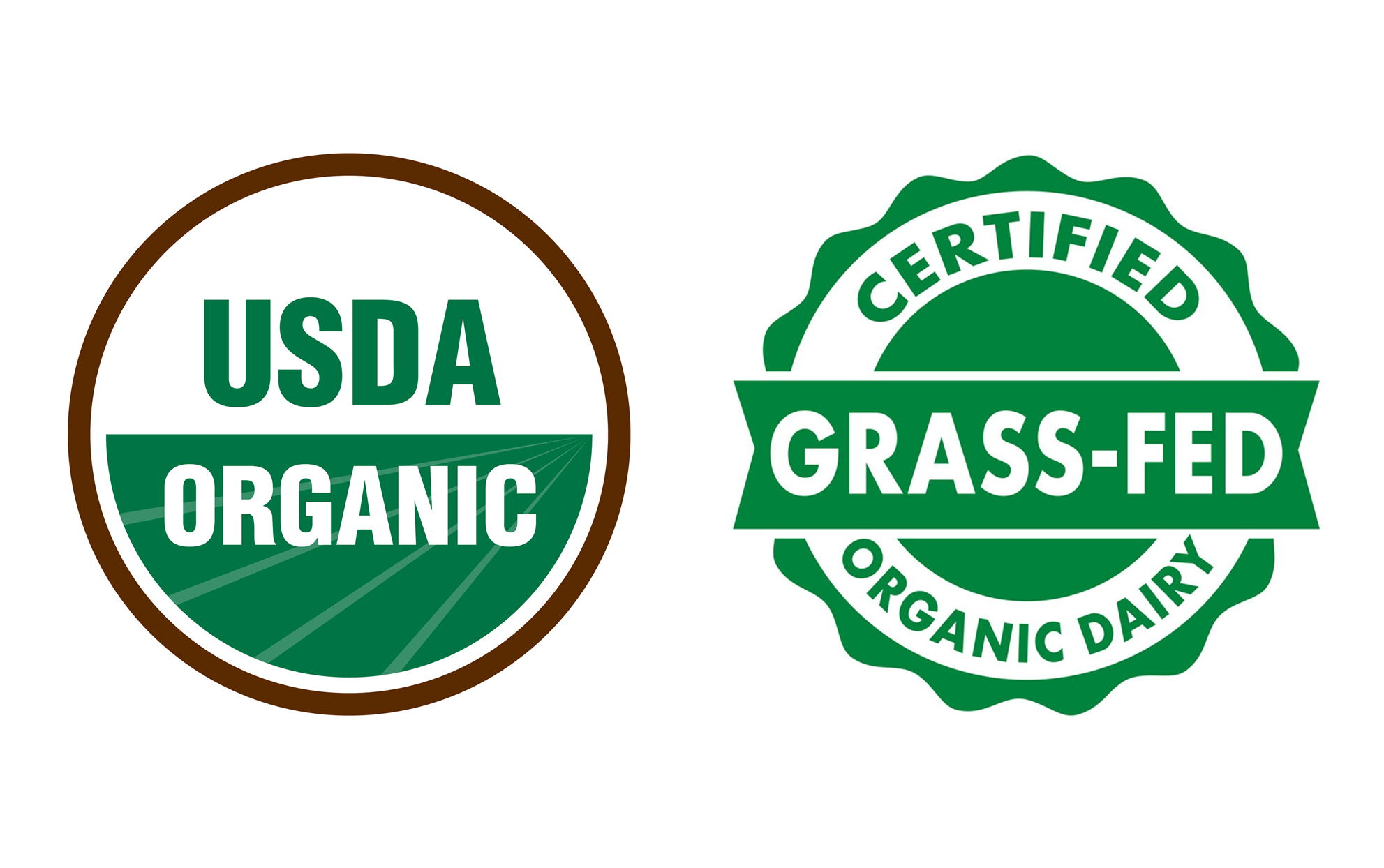 USDA Organic and Grass-Fed logos on a white background