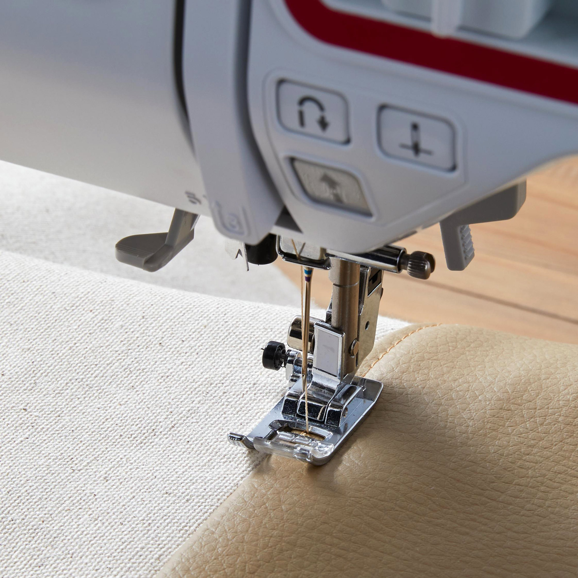 close-up sewing machine sewing leather handle third stitch row