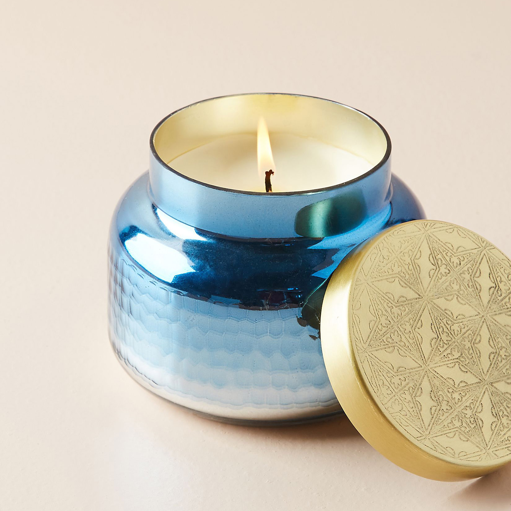 soy candle in blue jar
