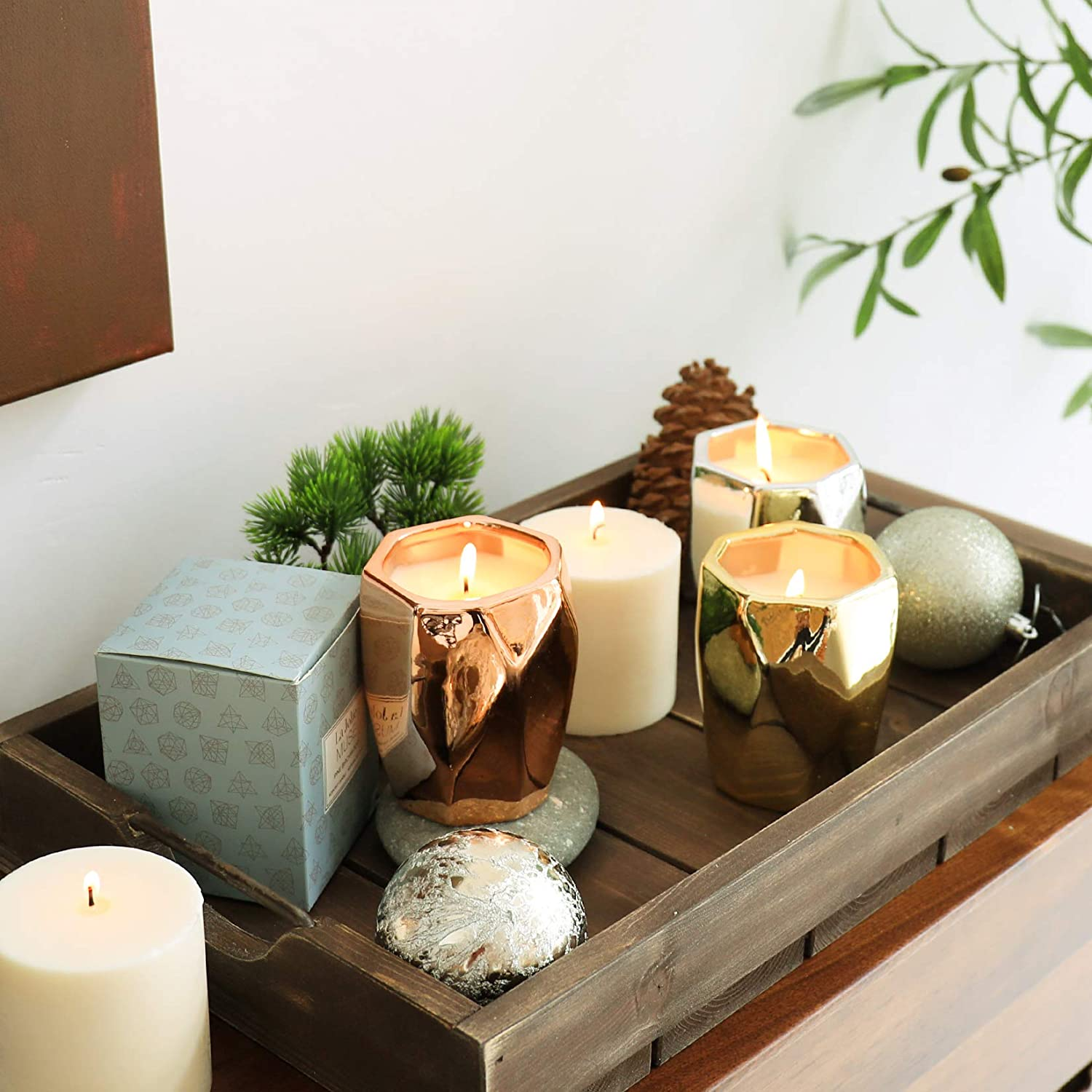 metallic soy candles in wood tray