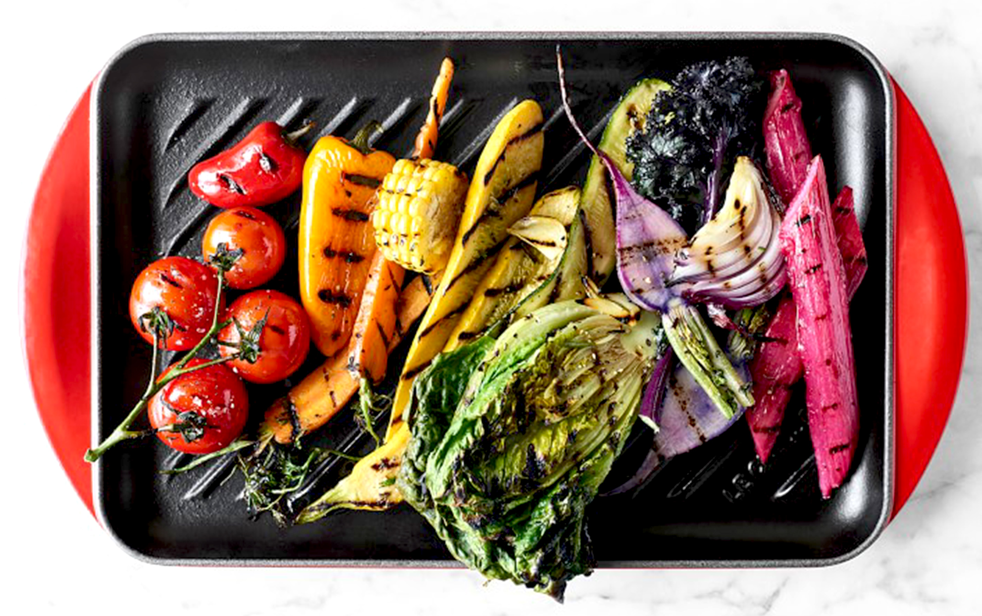 Le Creuset cast iron grill with vegetables