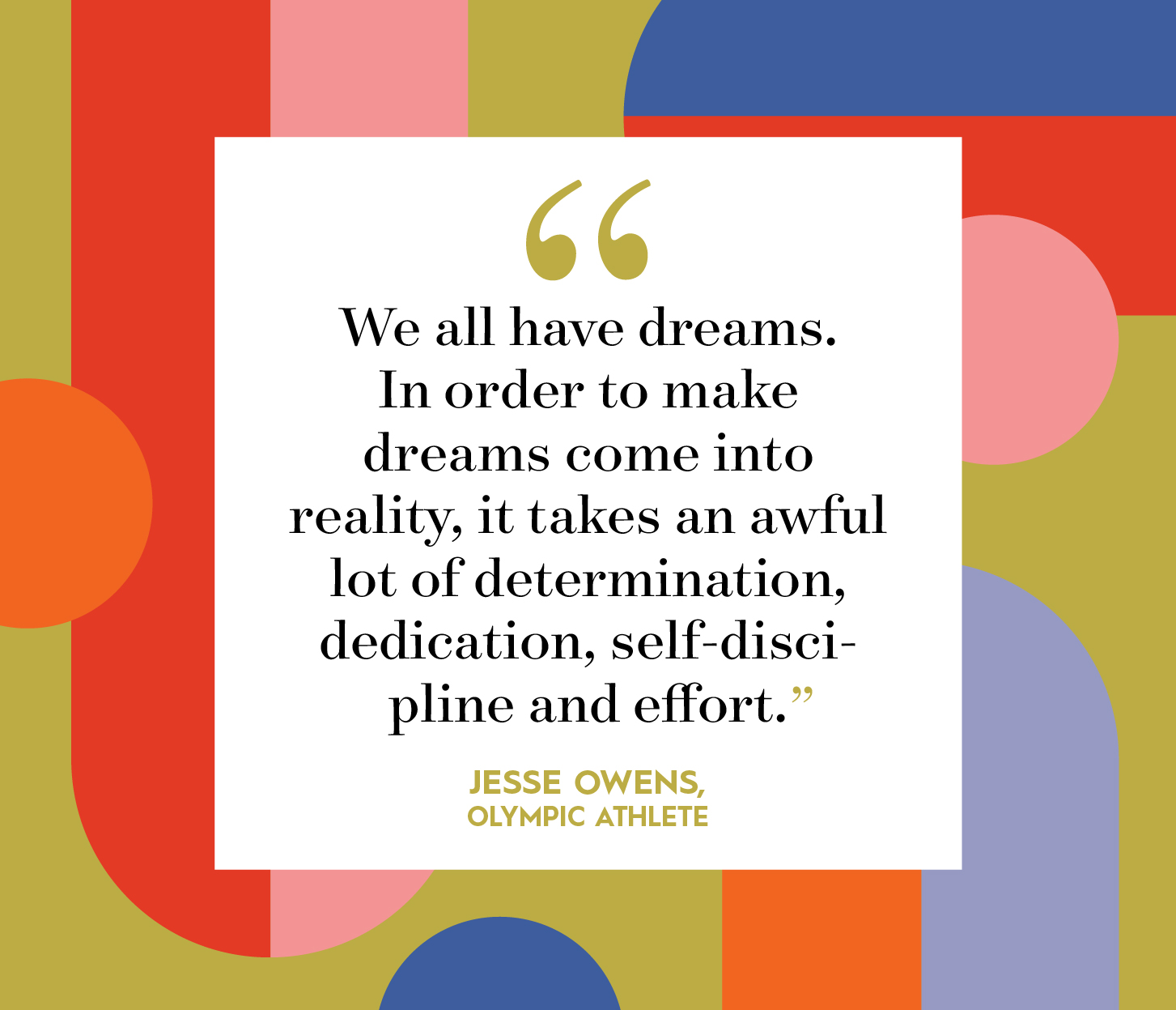 jesse owens quote on multicolor background