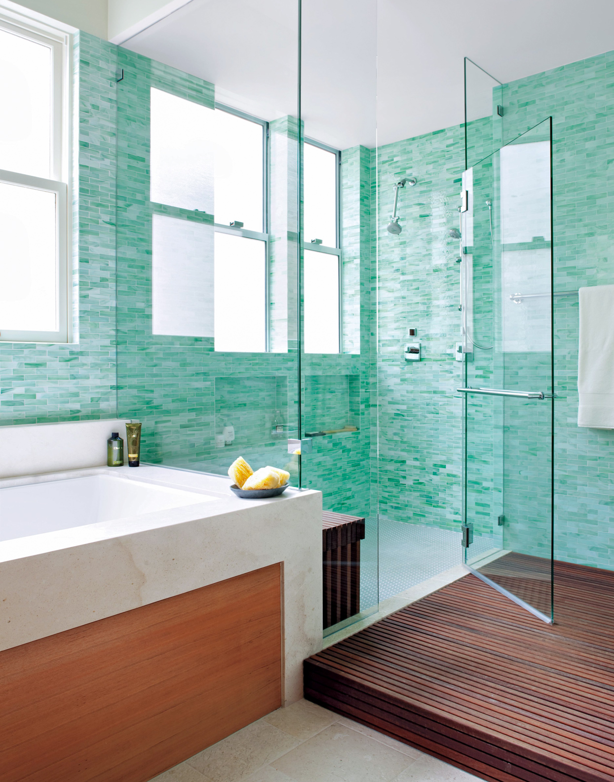 ocean blue tile bathroom shower