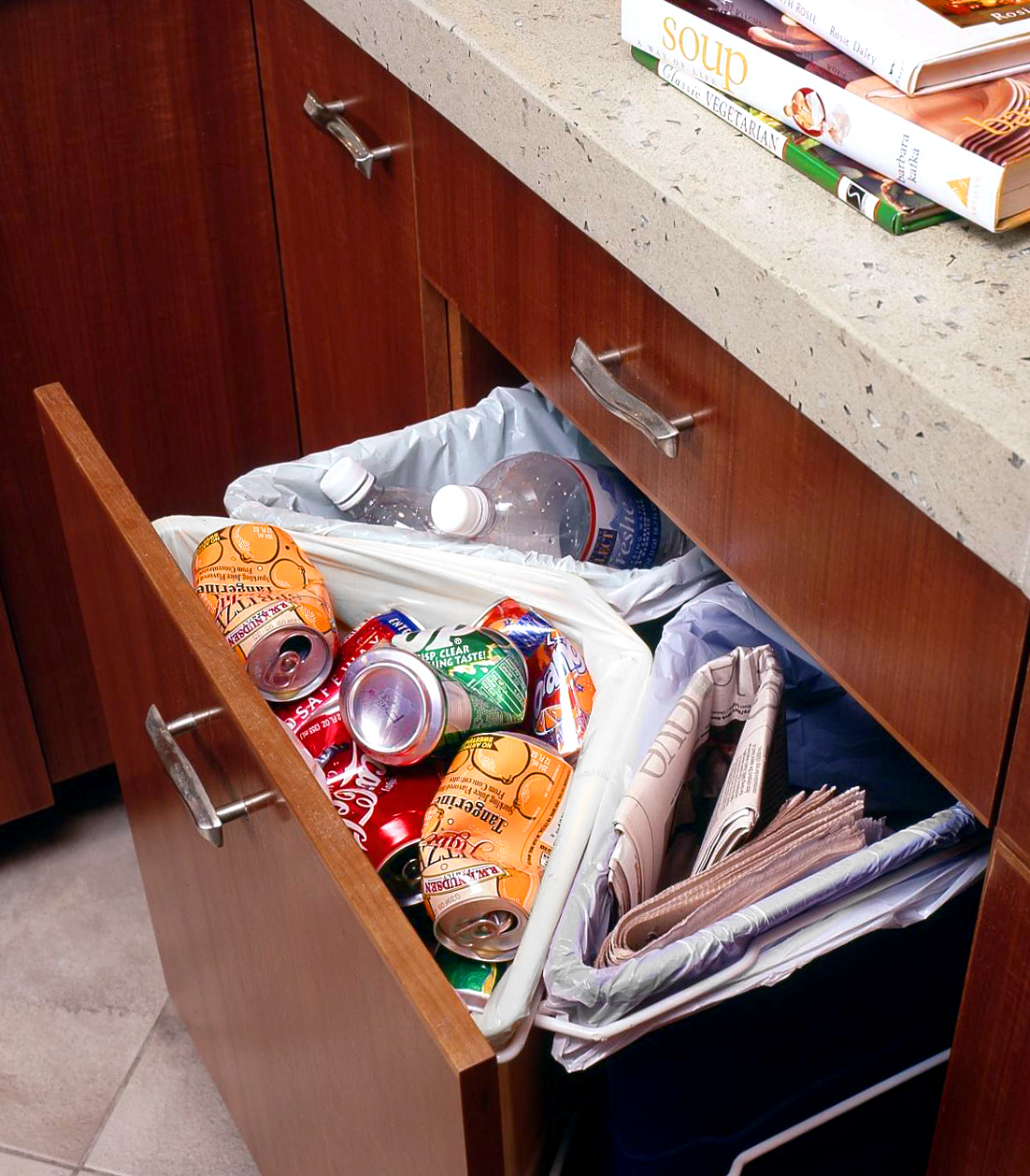 pull-out under-counter divided trash recycling station